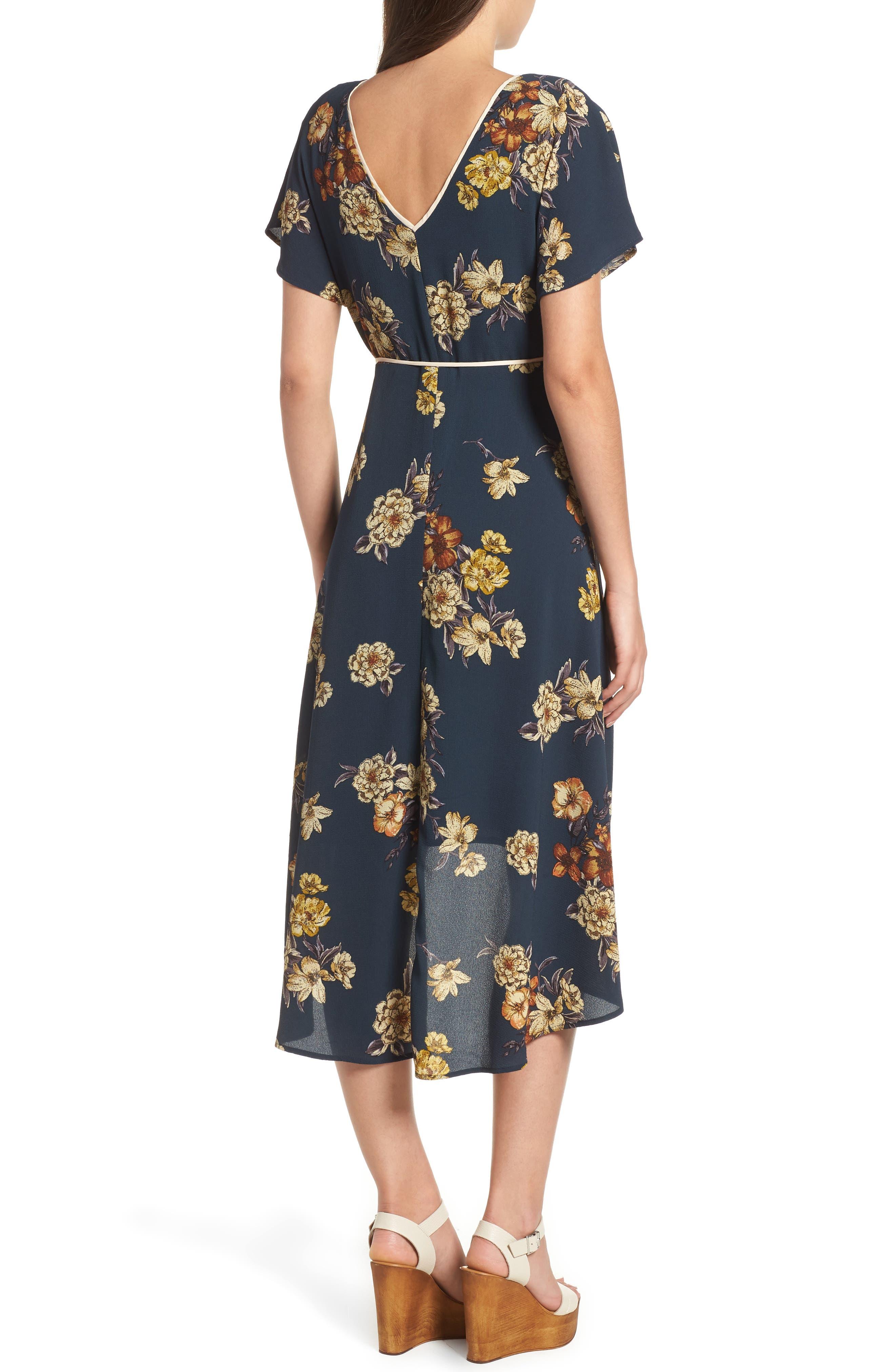 LEITH,                             Floral Wrap Dress,                             Alternate thumbnail 2, color,                             410