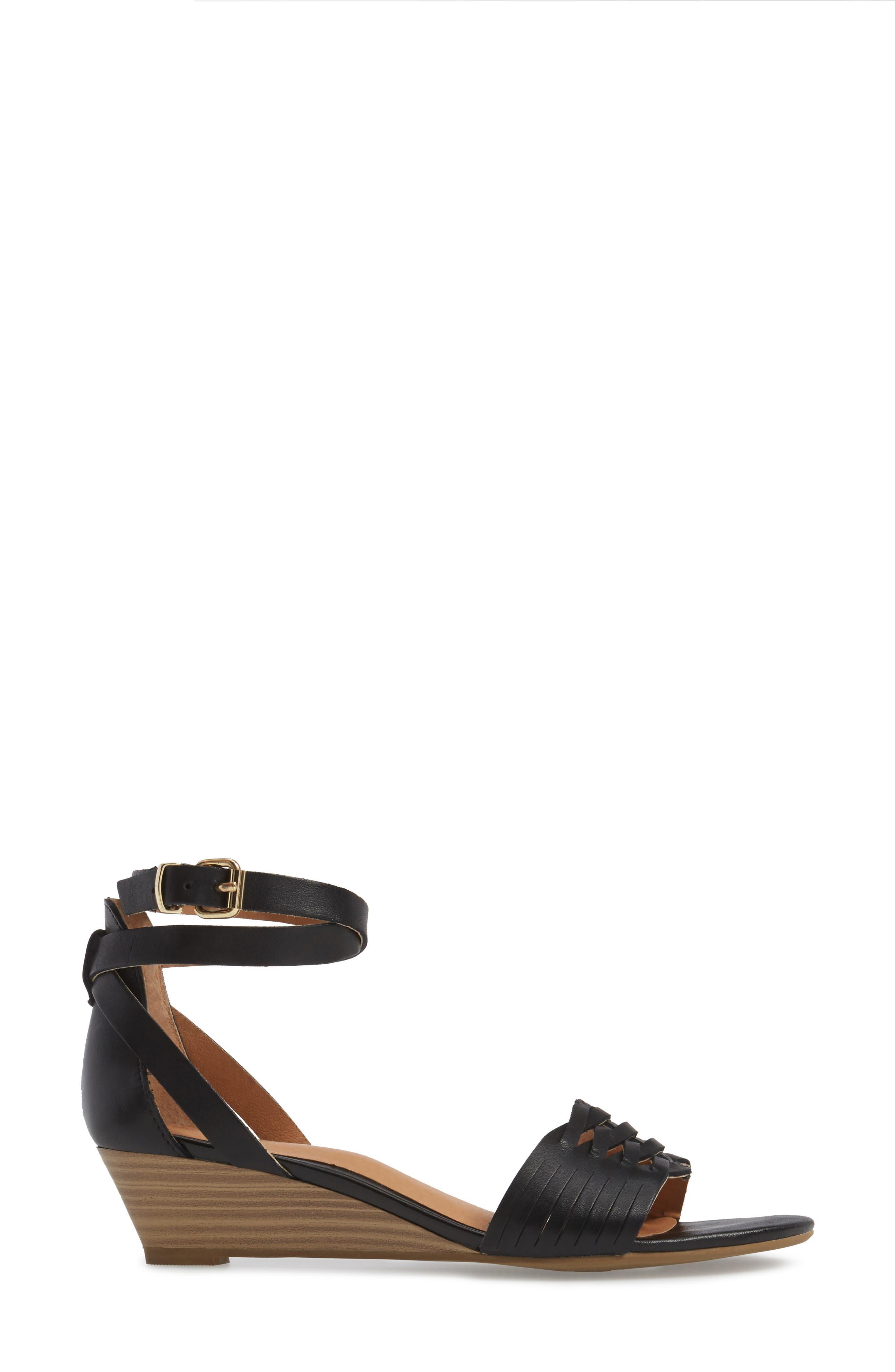 Sincere Wraparound Wedge Sandal,                             Alternate thumbnail 3, color,                             001