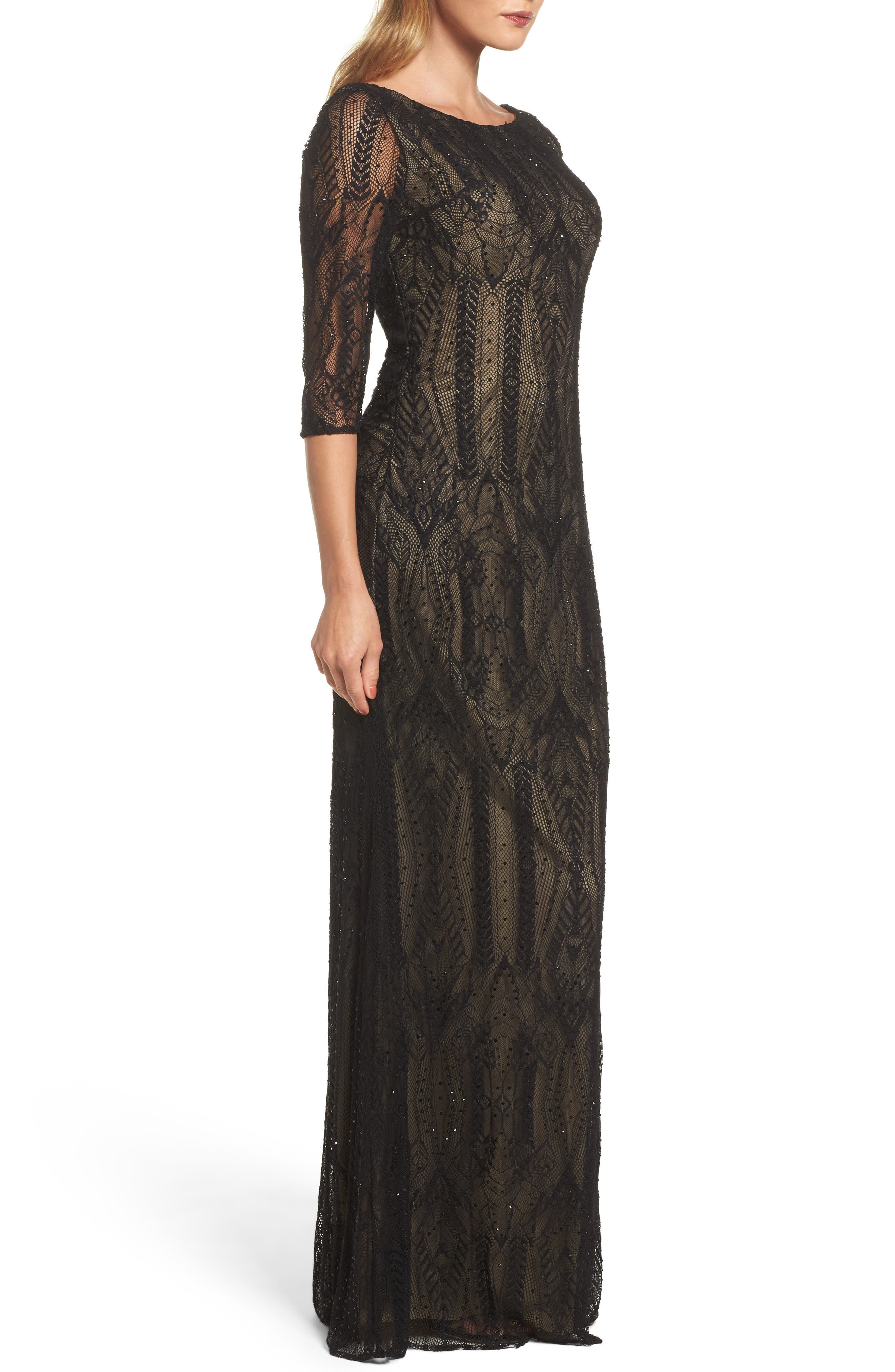Crystal Lace Column Gown,                             Alternate thumbnail 3, color,                             BLACK
