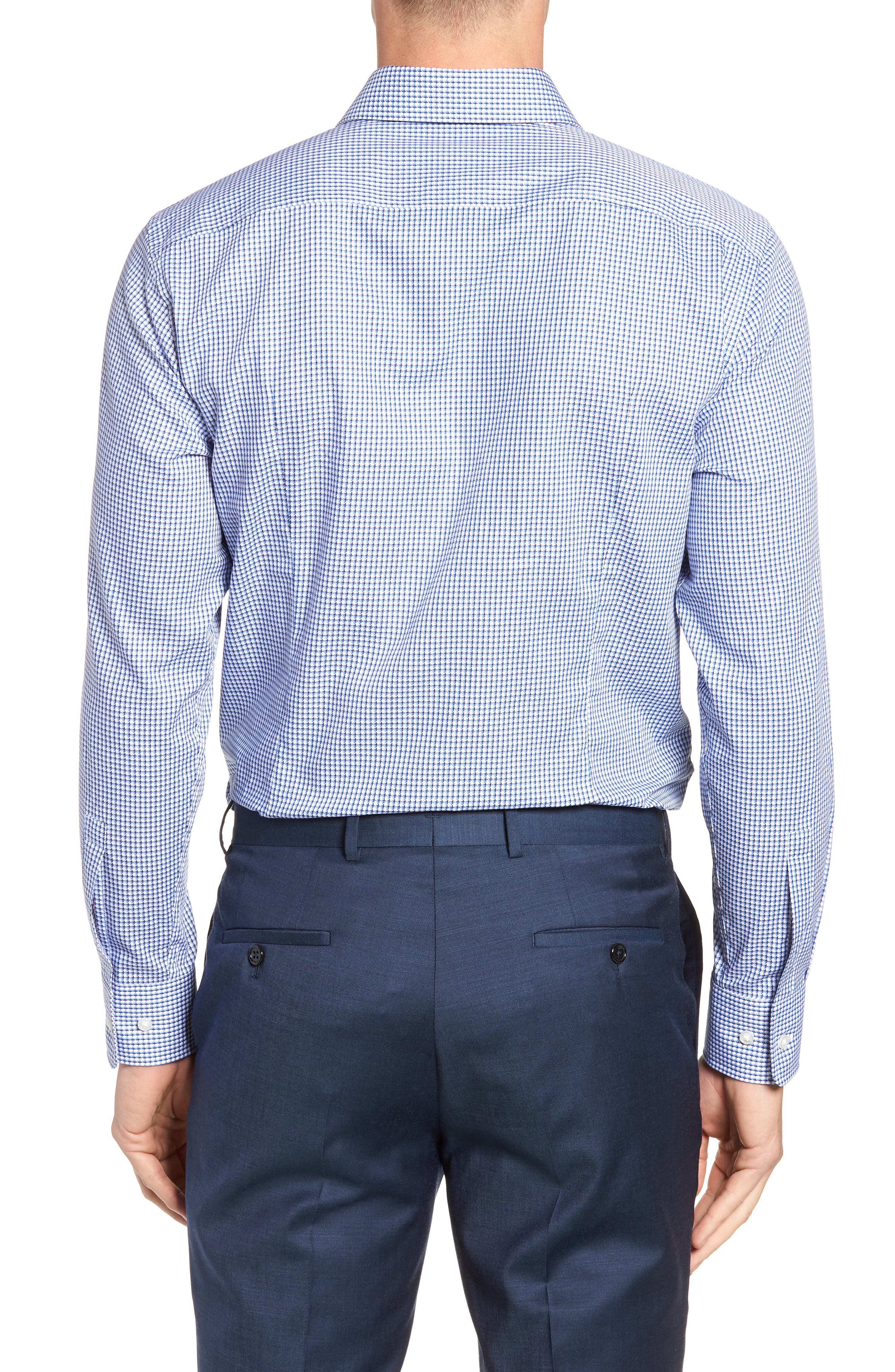 Mark Sharp Fit Check Dress Shirt,                             Alternate thumbnail 3, color,                             BLUE