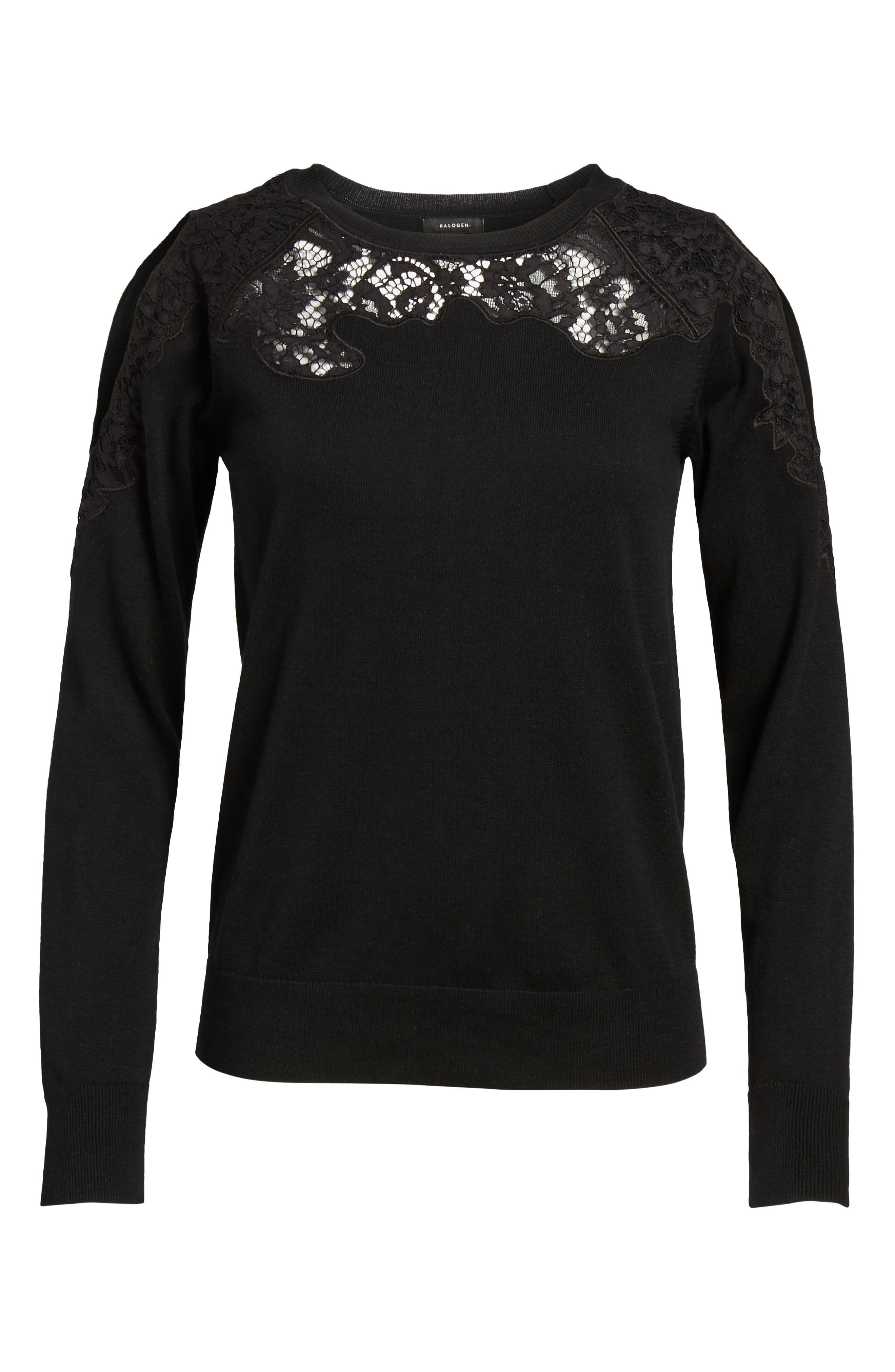 Lace Detail Cold Shoulder Sweater,                             Alternate thumbnail 6, color,                             001