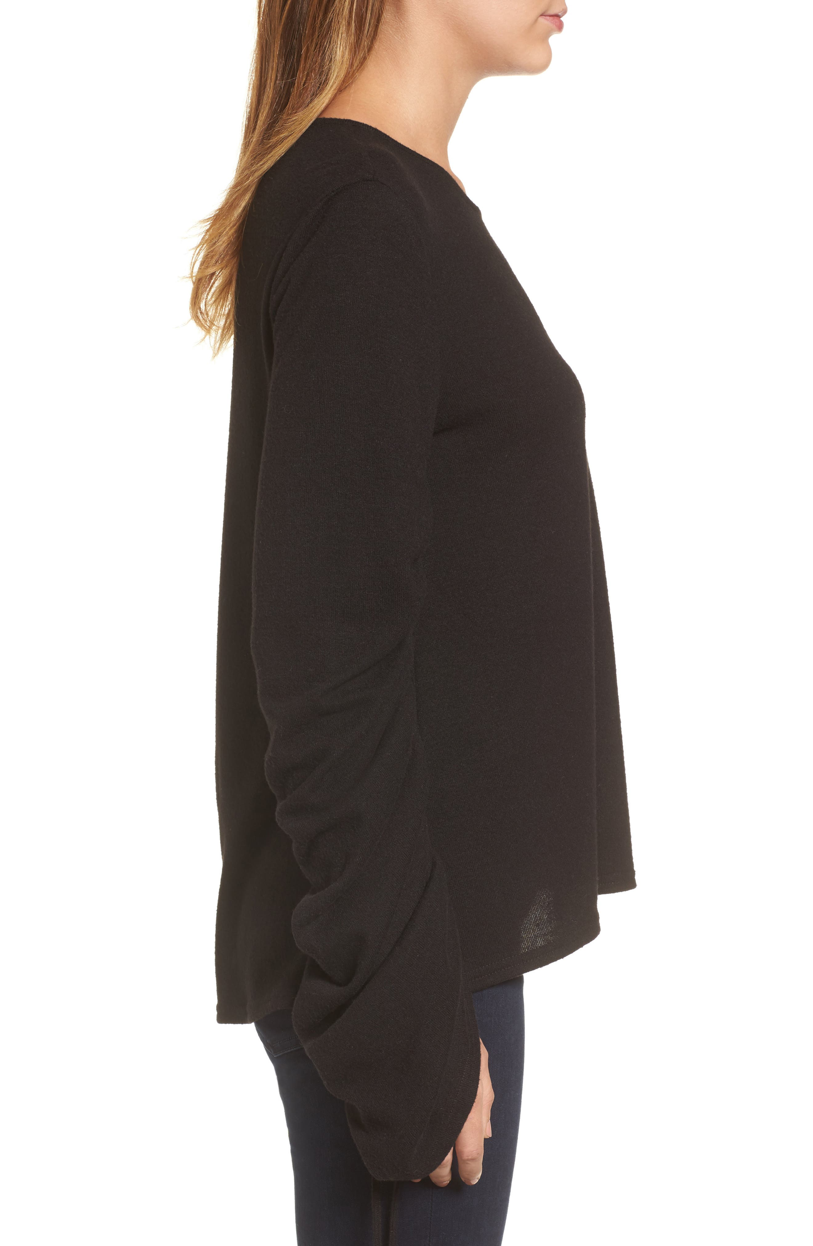 Brushed Jersey Ruched Sleeve Top,                             Alternate thumbnail 5, color,