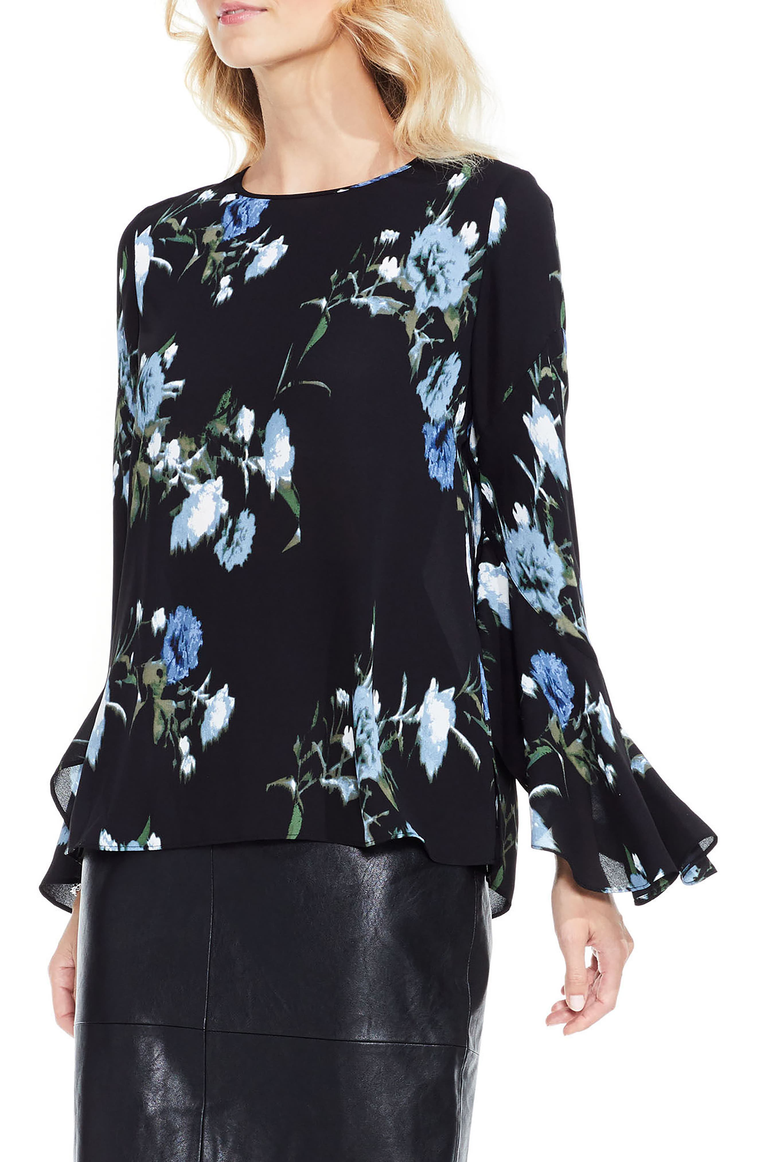 Windswept Bouquet Bell Sleeve Blouse,                             Main thumbnail 1, color,                             474