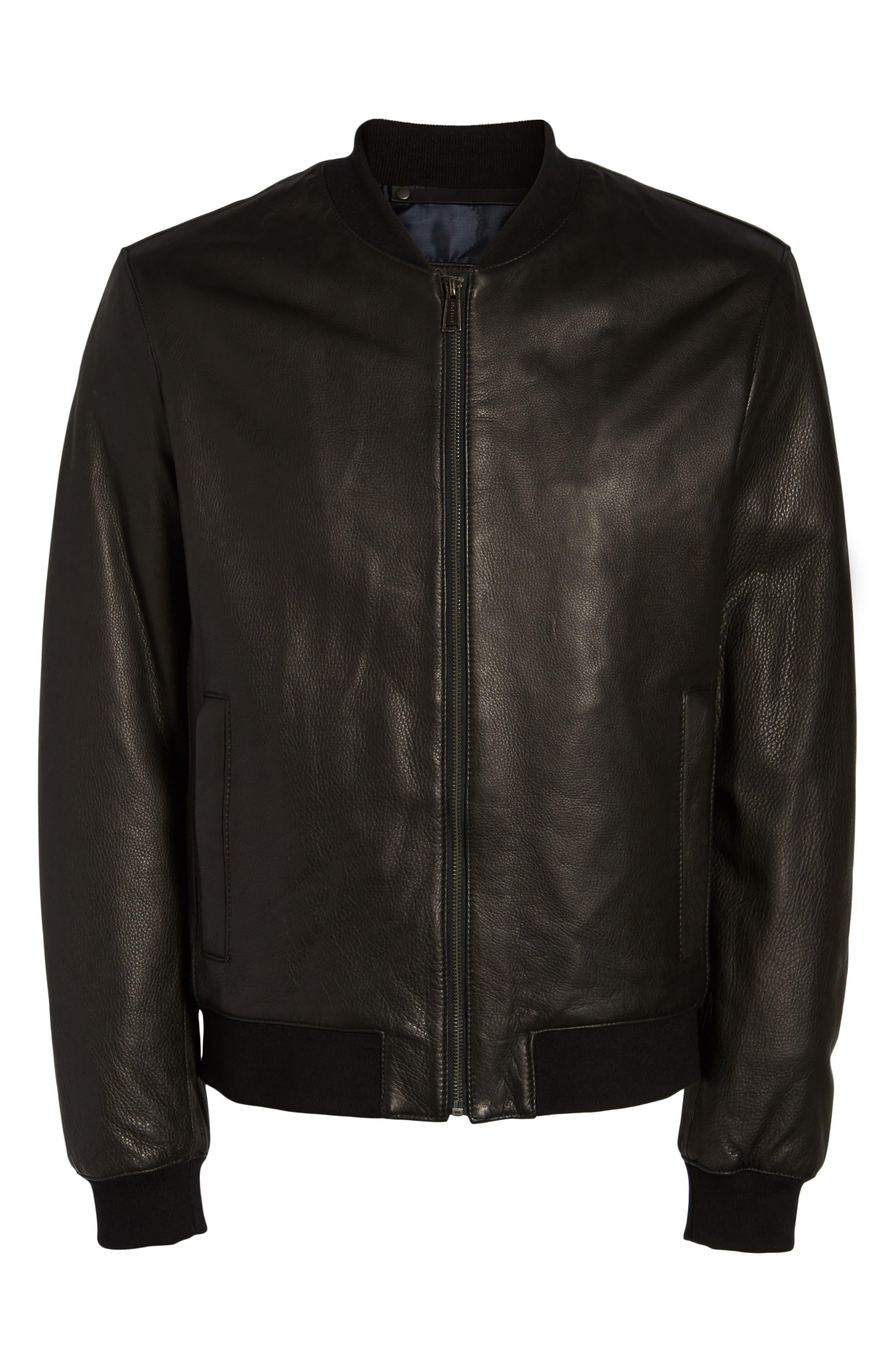 Leather Varsity Jacket,                             Alternate thumbnail 5, color,