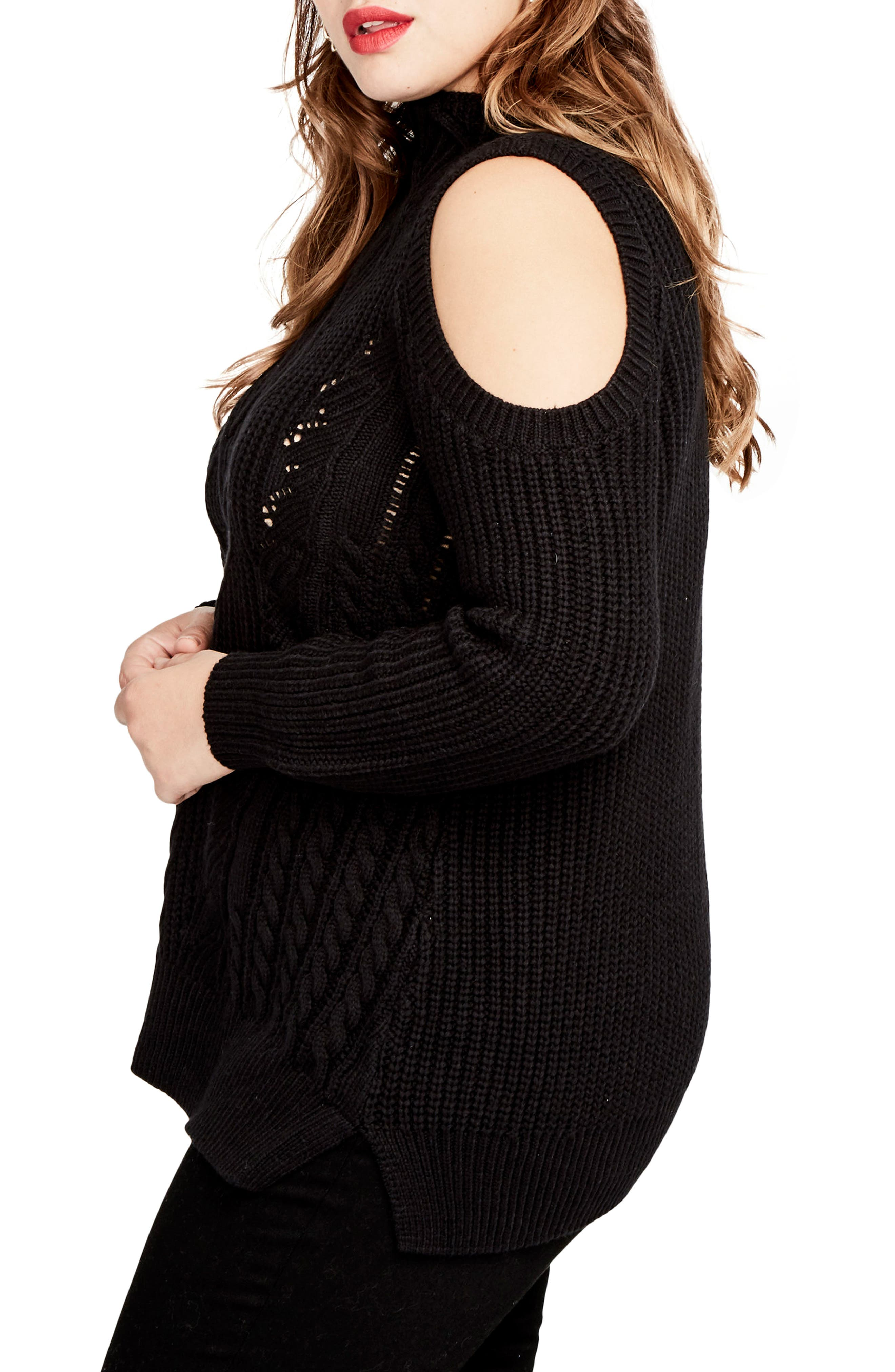 Cold Shoulder Cable Sweater,                             Alternate thumbnail 3, color,                             001