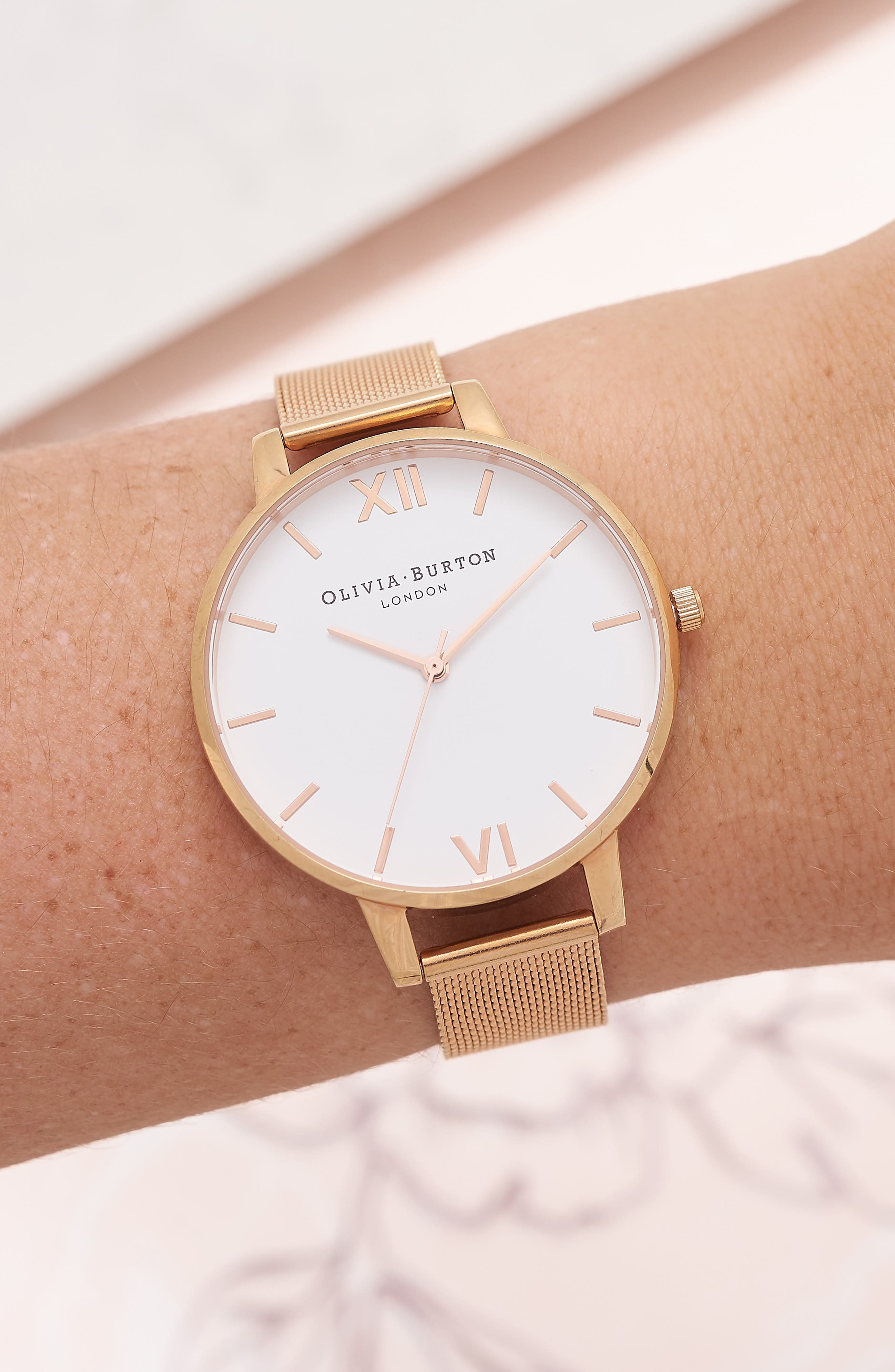'Big Dial' Mesh Strap Watch, 38mm,                             Alternate thumbnail 3, color,                             ROSE GOLD/ WHITE