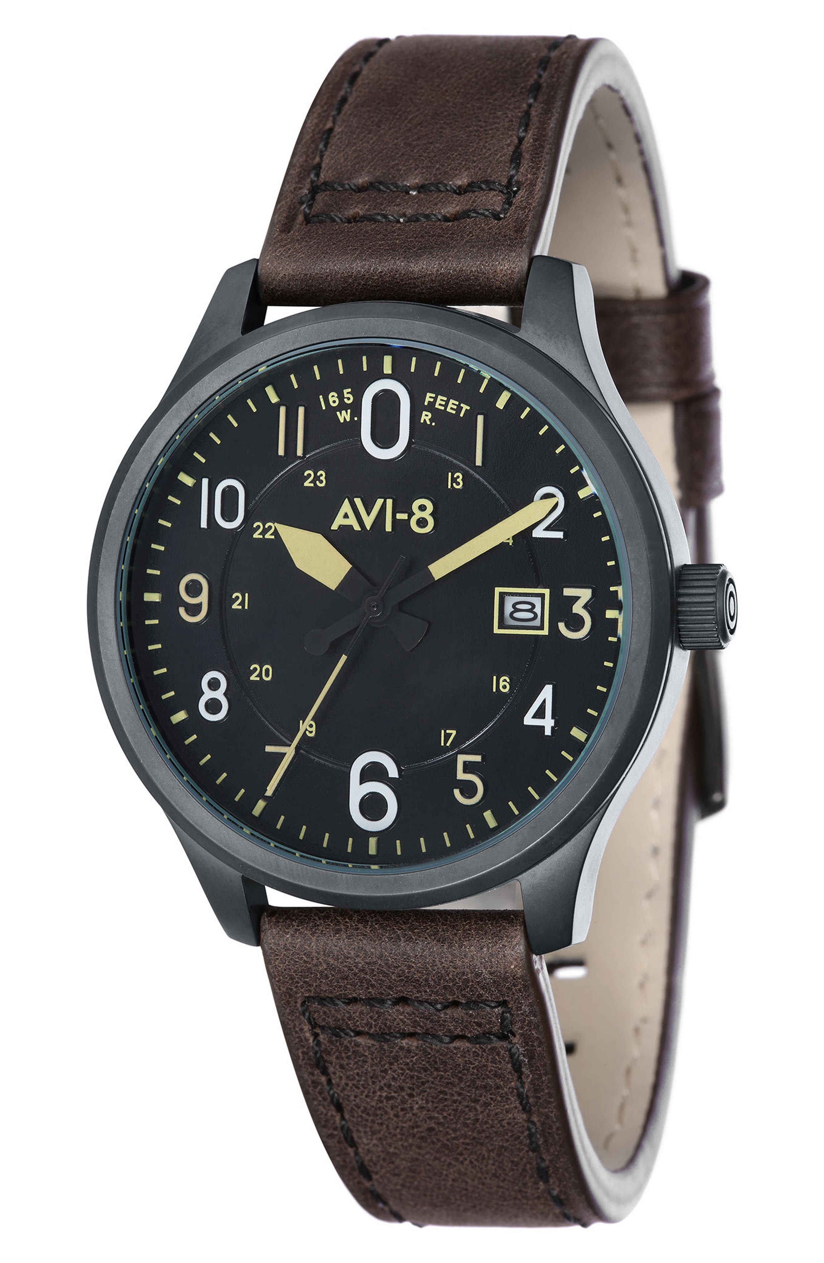 Hawker Hurricane Leather Strap Watch, 43mm,                             Main thumbnail 1, color,                             201