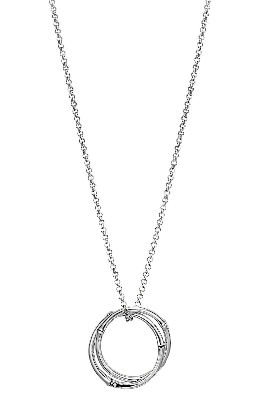 'Bamboo' Circle Pendant Necklace,                         Main,                         color, SILVER