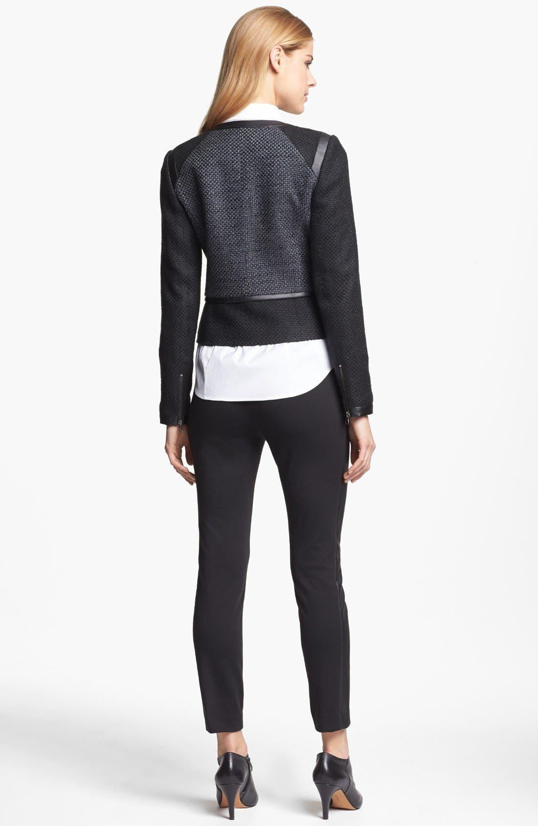 Faux Leather Trim Tweed Jacket,                             Alternate thumbnail 2, color,                             001