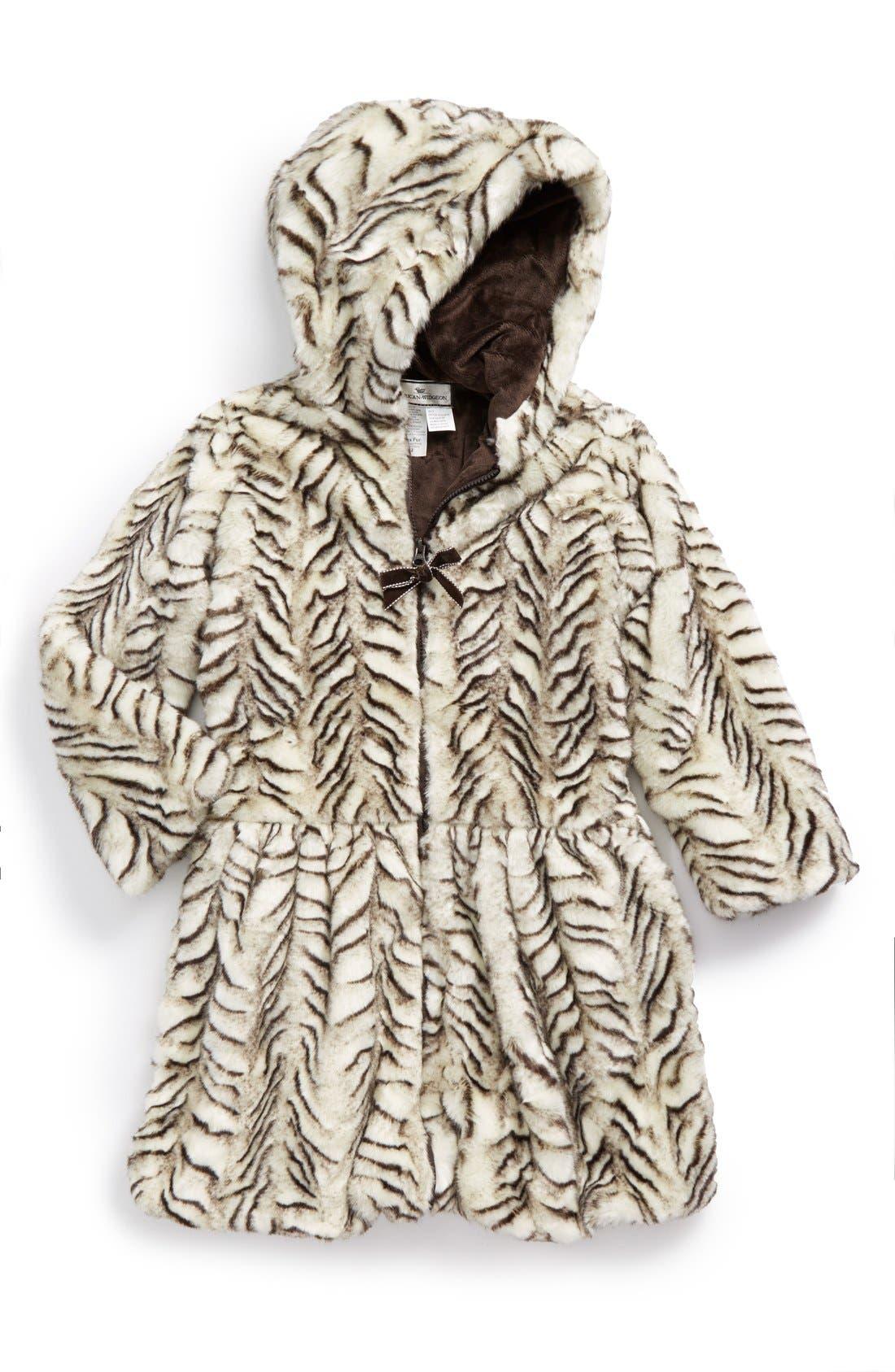 Drop Waist FauxFur Coat,                         Main,                         color, 001
