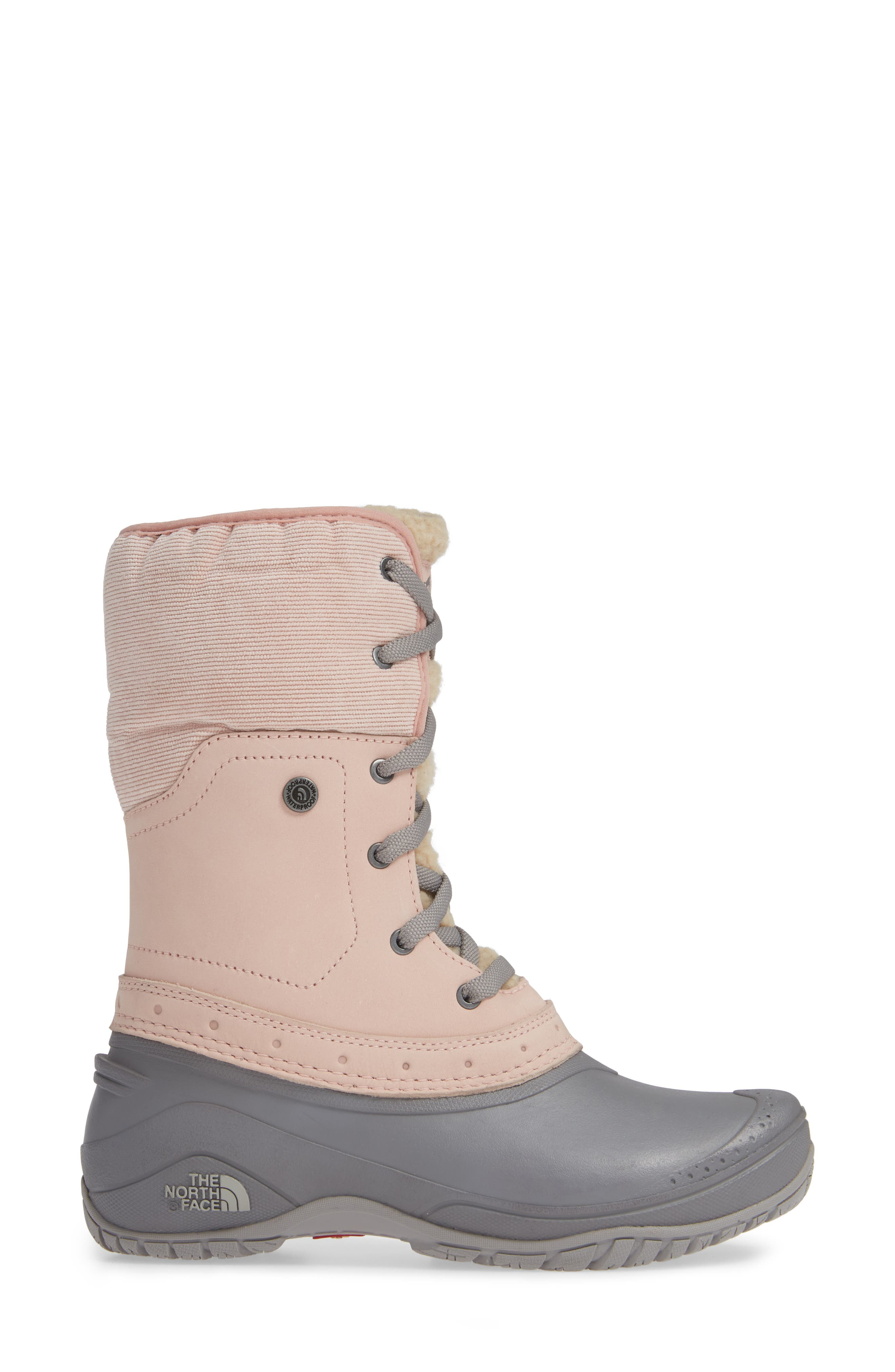 Shellista Roll Cuff Waterproof Insulated Winter Boot,                             Alternate thumbnail 3, color,                             MISTY ROSE/ Q-SILVER GREY