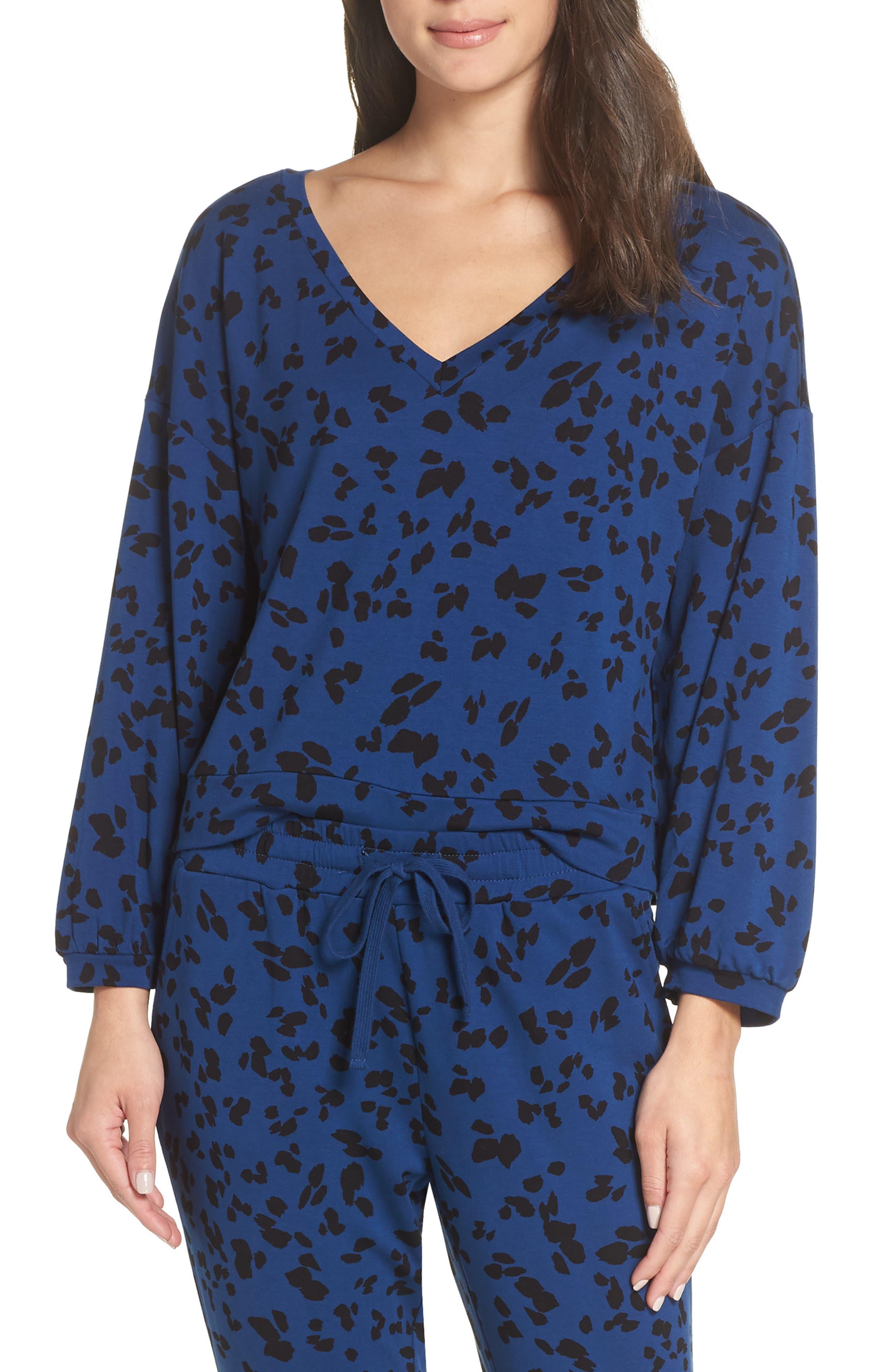 Sensing a Pattern Leopard Print Pajama Top,                             Main thumbnail 1, color,                             MARINE