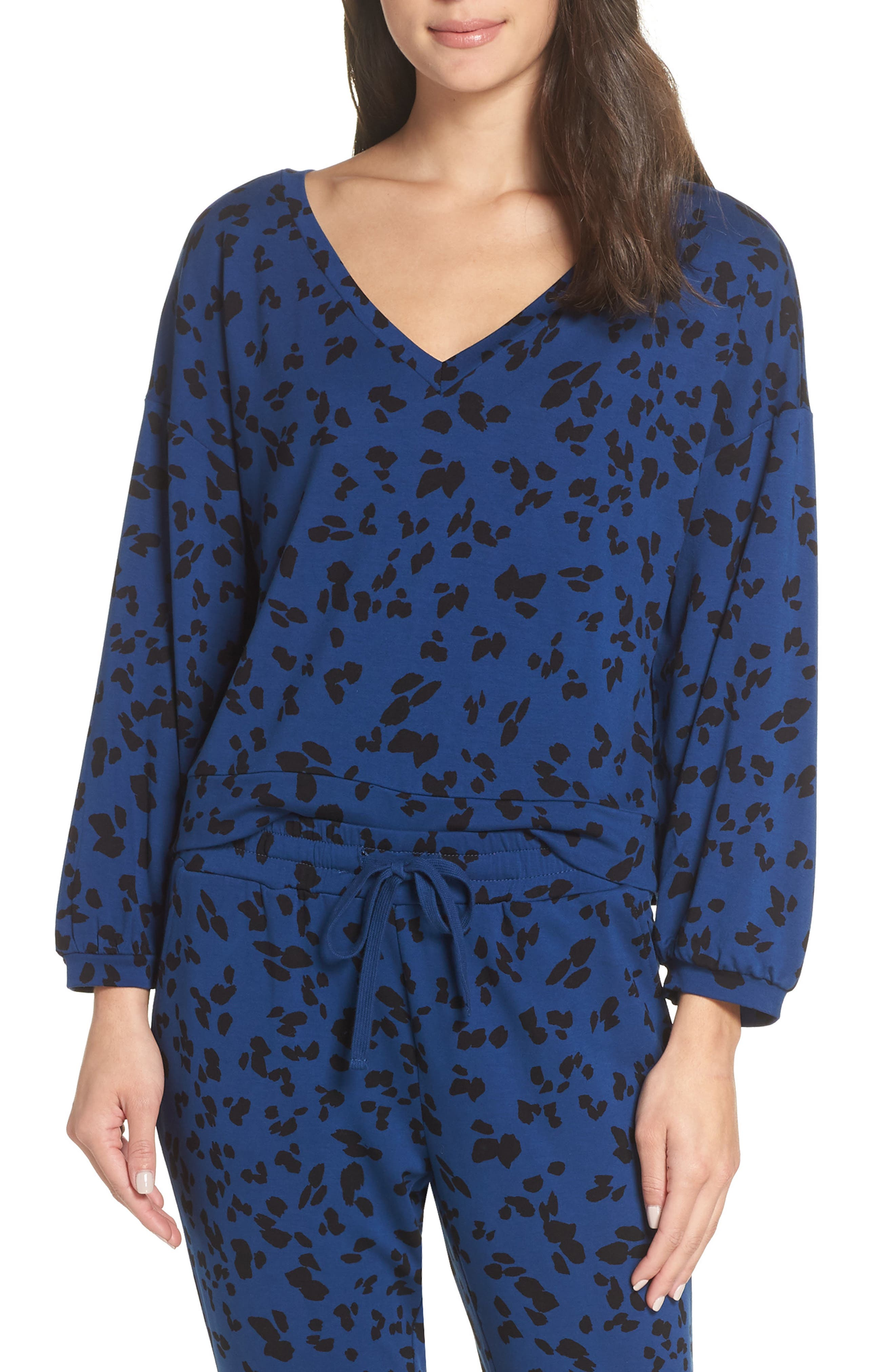Sensing a Pattern Leopard Print Pajama Top,                         Main,                         color, MARINE