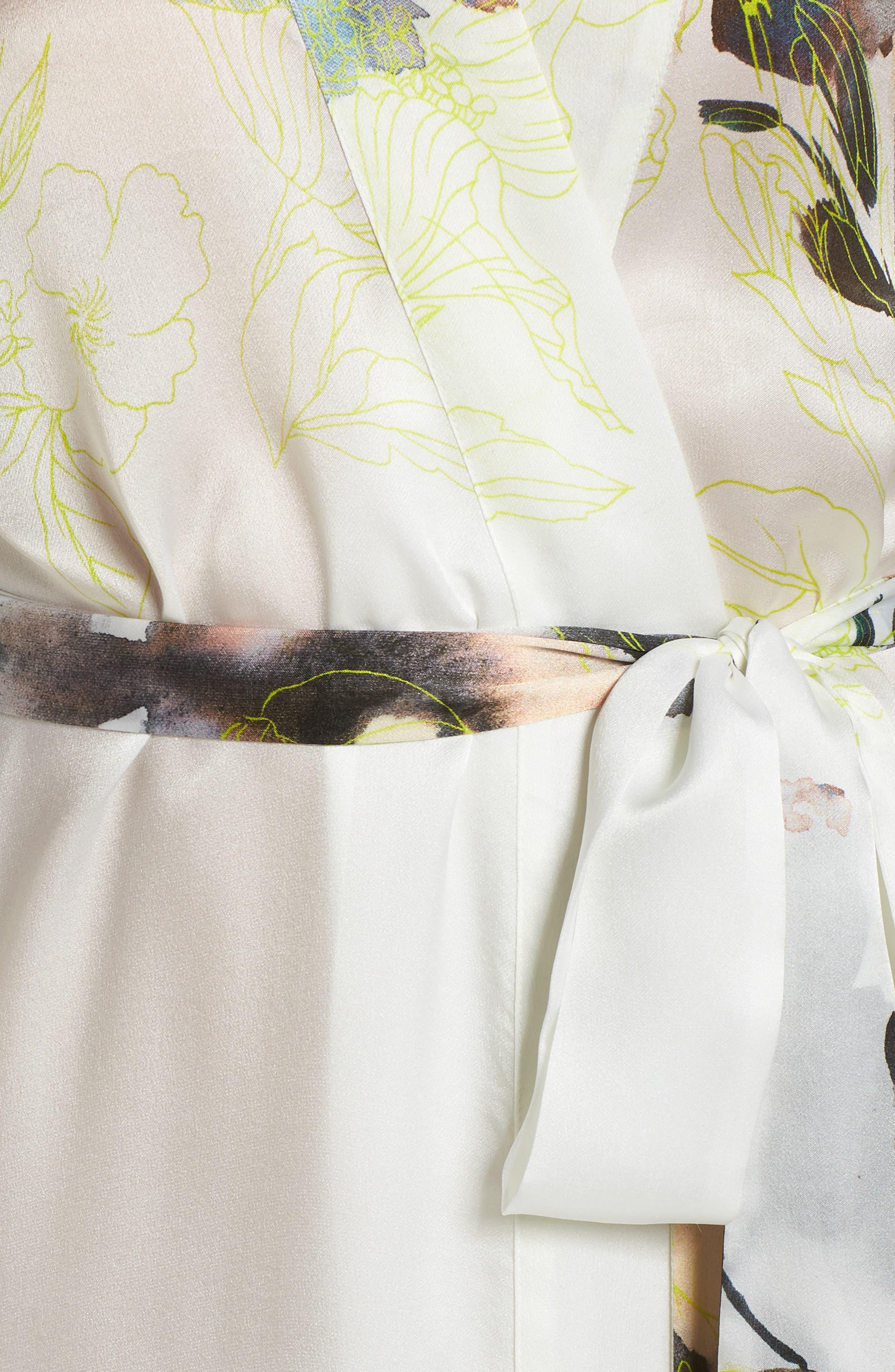 Floral Print Silk Robe,                             Alternate thumbnail 5, color,                             LIMELIGHT PRINT