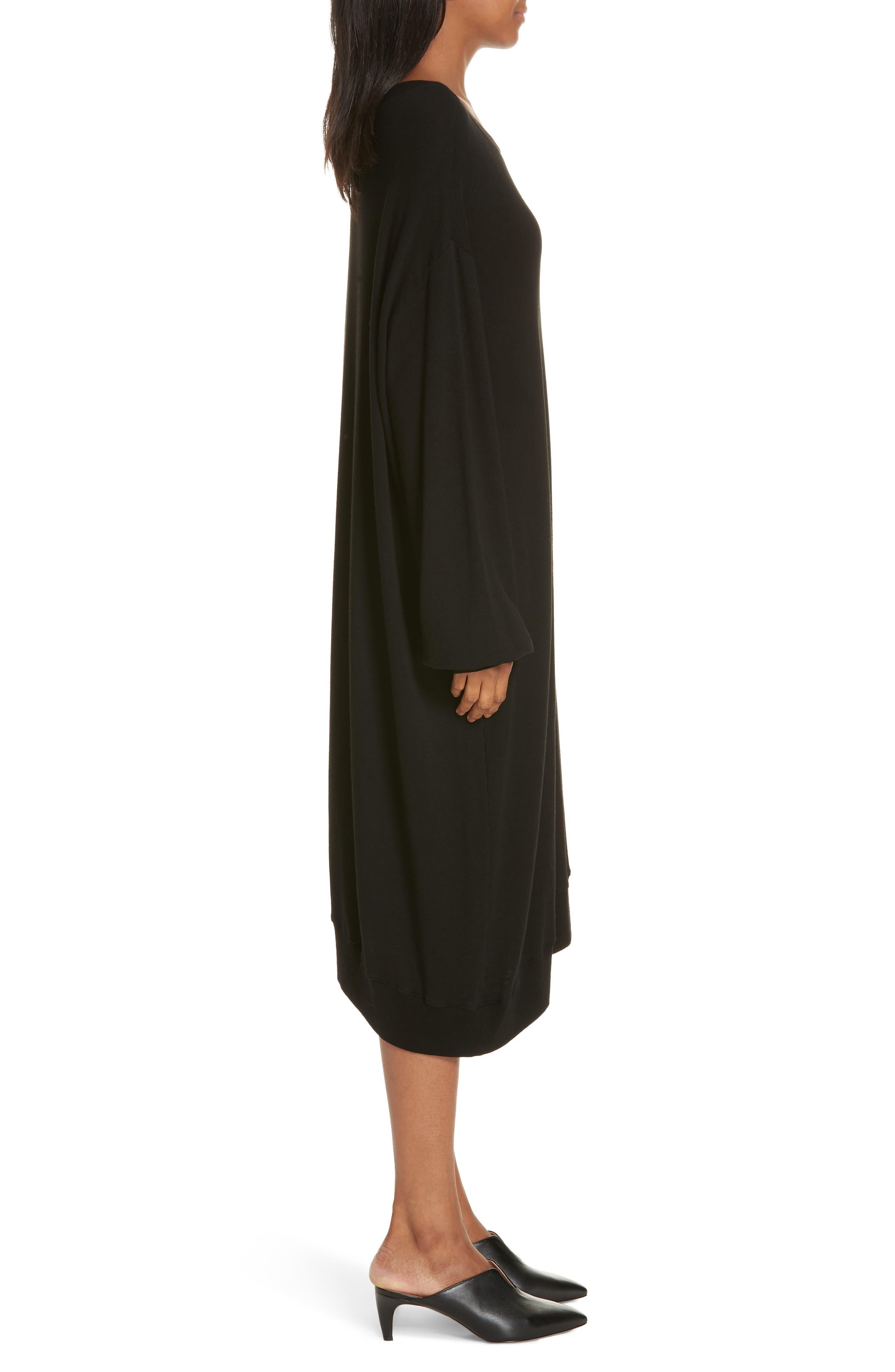 Mix Media Asymmetrical Hem Ruffle Dress,                             Alternate thumbnail 3, color,                             BLACK