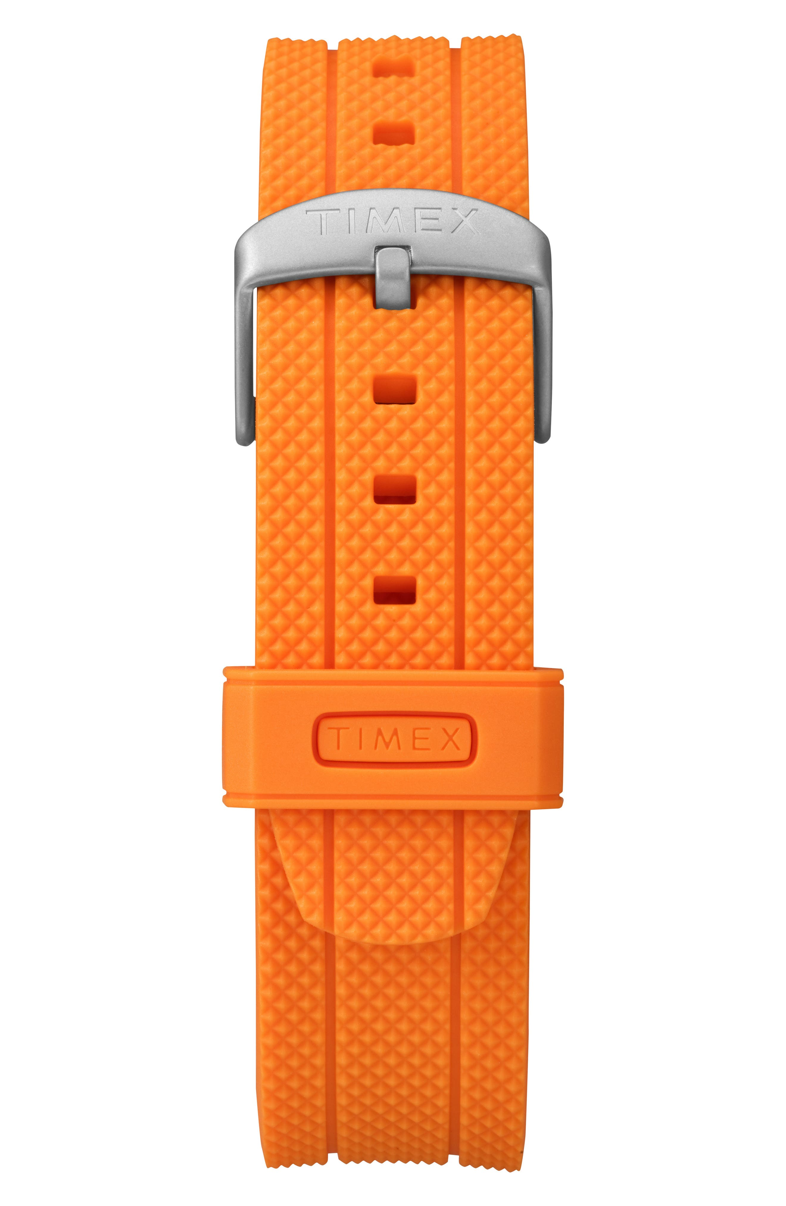 Allied Silicone Strap Watch, 43mm,                             Alternate thumbnail 3, color,                             ORANGE/ GREY/ SILVER