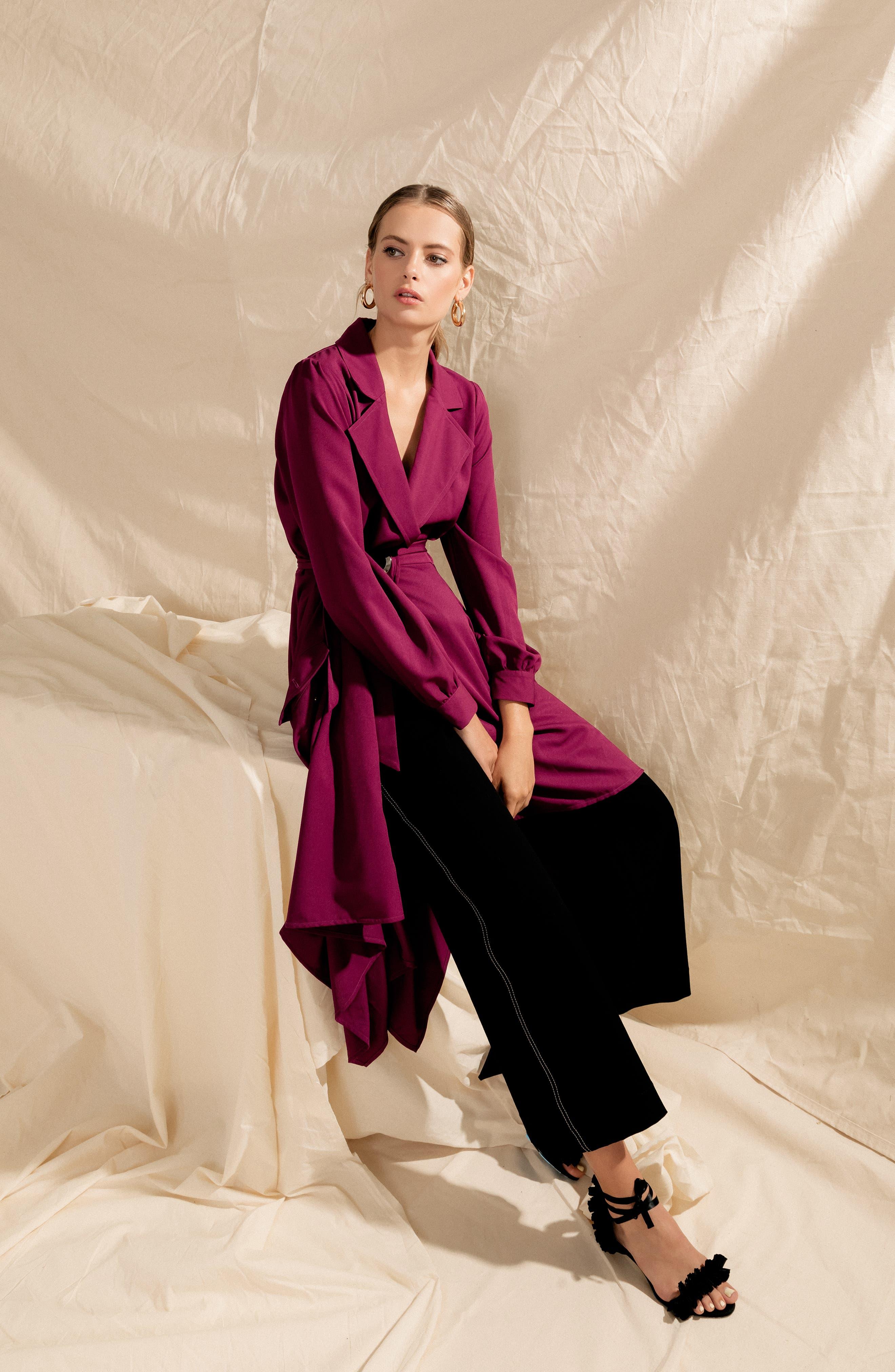 Chriselle Lim Wren Trench Dress,                             Alternate thumbnail 2, color,                             MAGENTA
