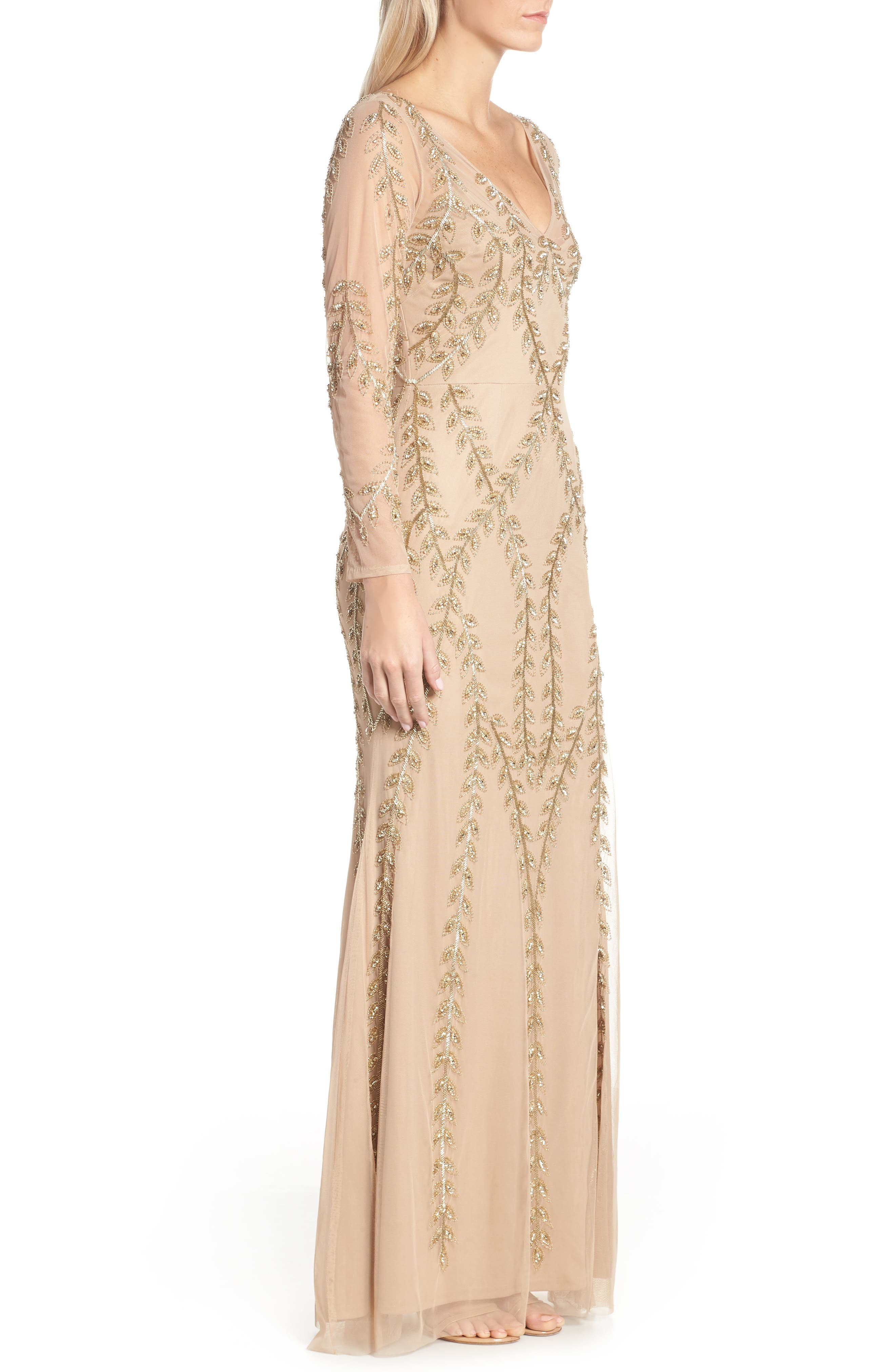 ADRIANNA PAPELL,                             Fern Beaded Gown,                             Alternate thumbnail 4, color,                             CHAMPAGNE/ GOLD