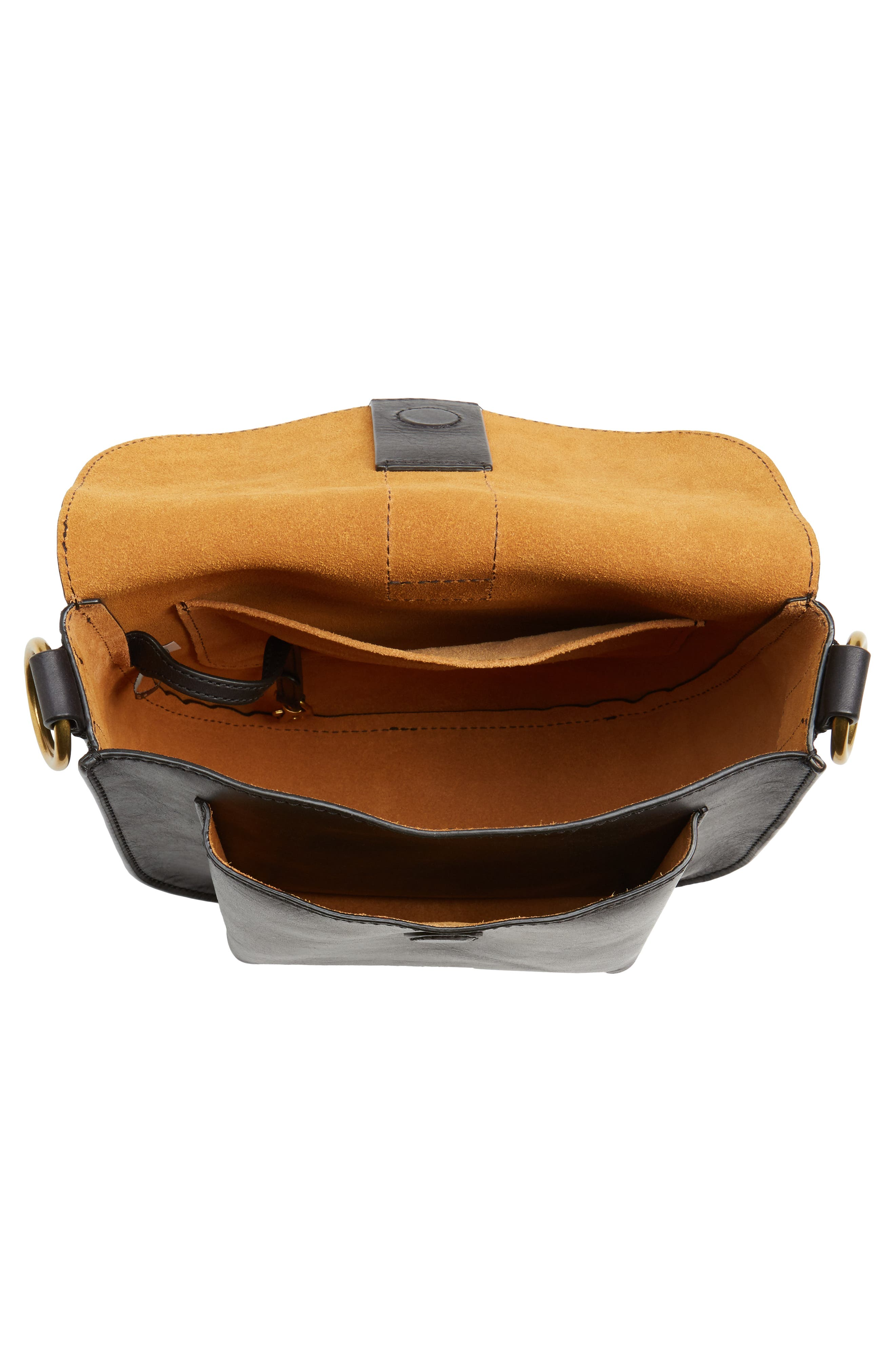 Ilana Leather Saddle Bag,                             Alternate thumbnail 4, color,                             001