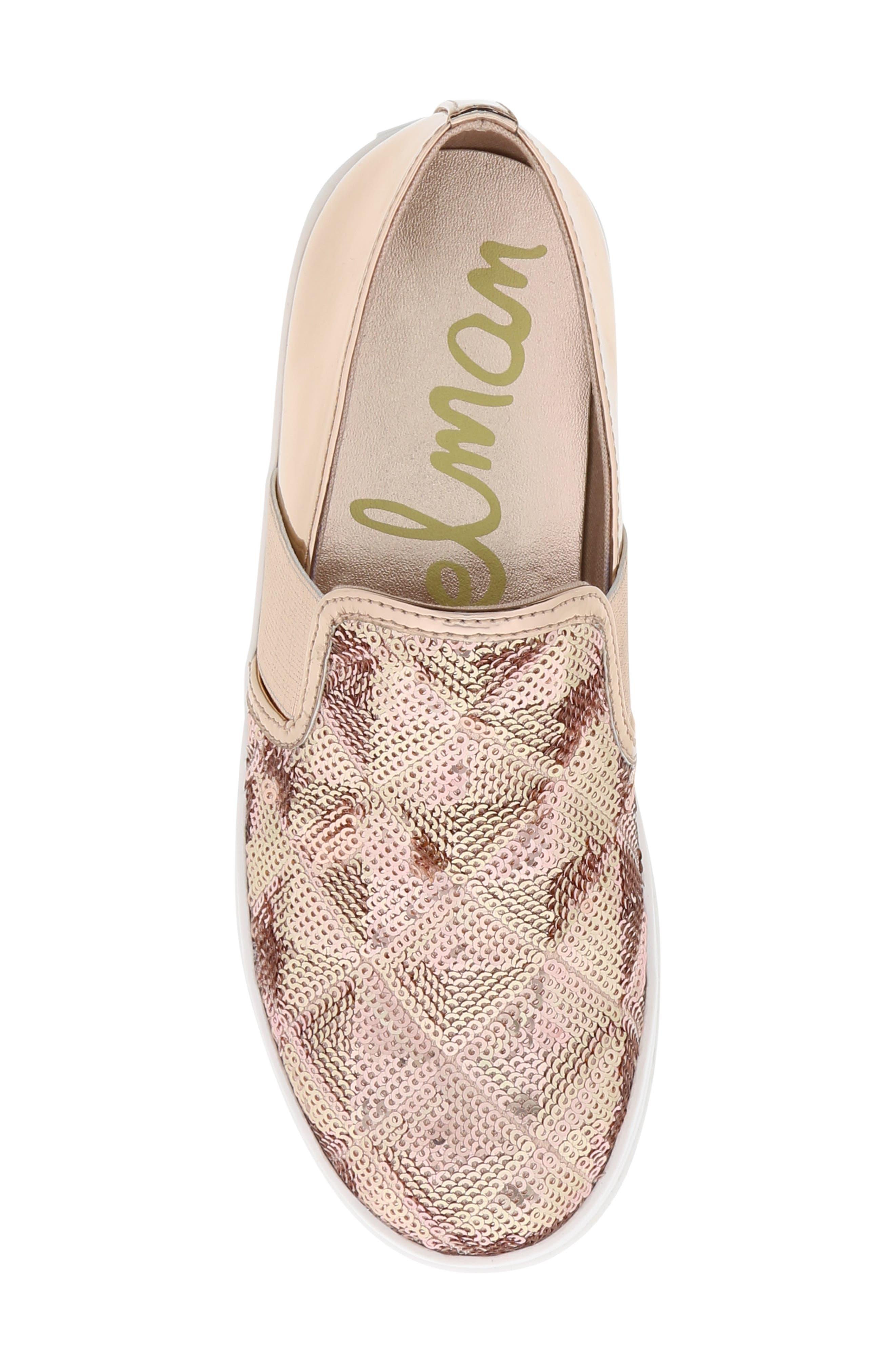 Sheena Pam Sequin Sneaker,                             Alternate thumbnail 5, color,                             ROSE GOLD