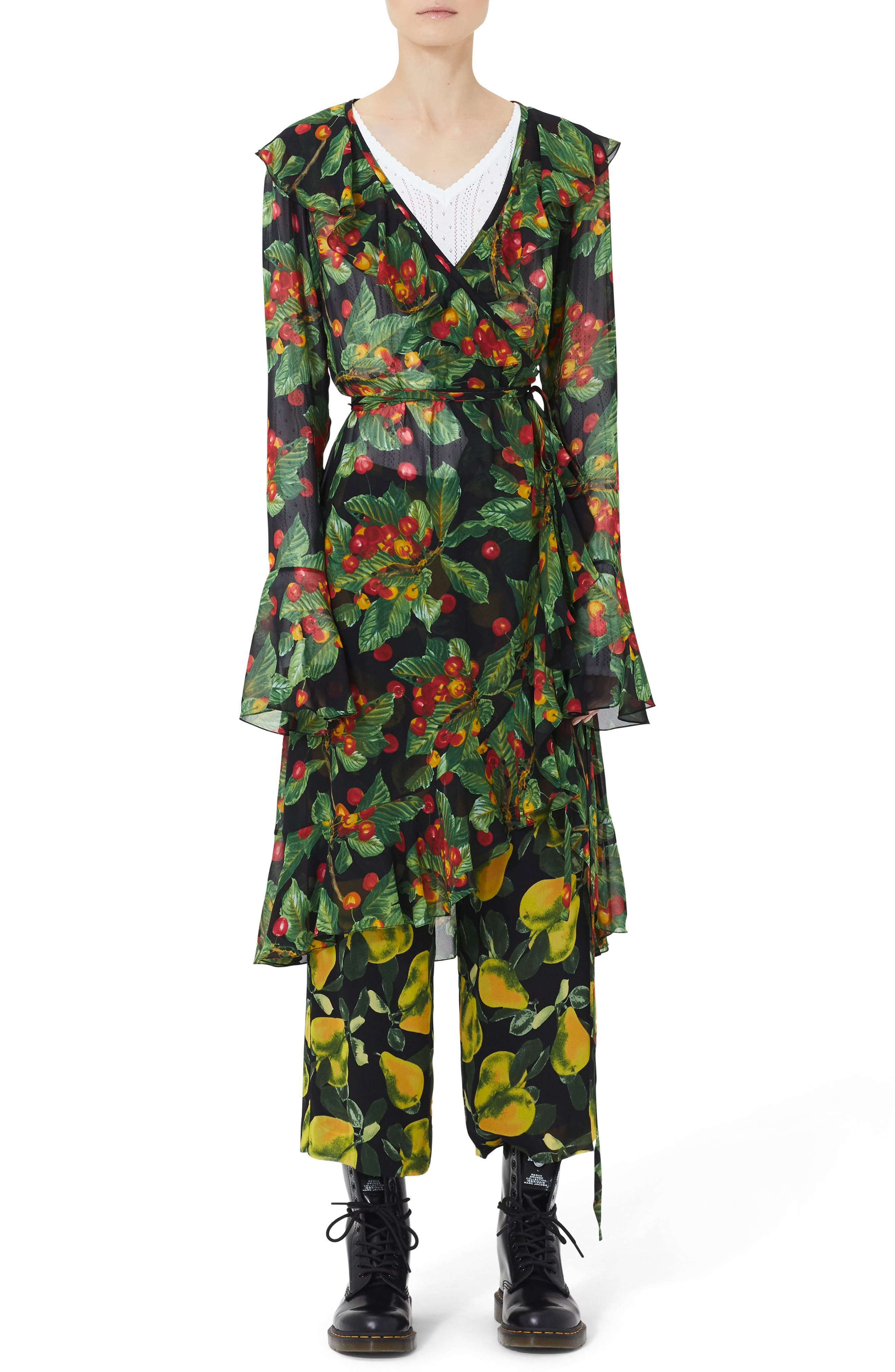 Marc Jacobs Fruit Print Ruffle Wrap Dress