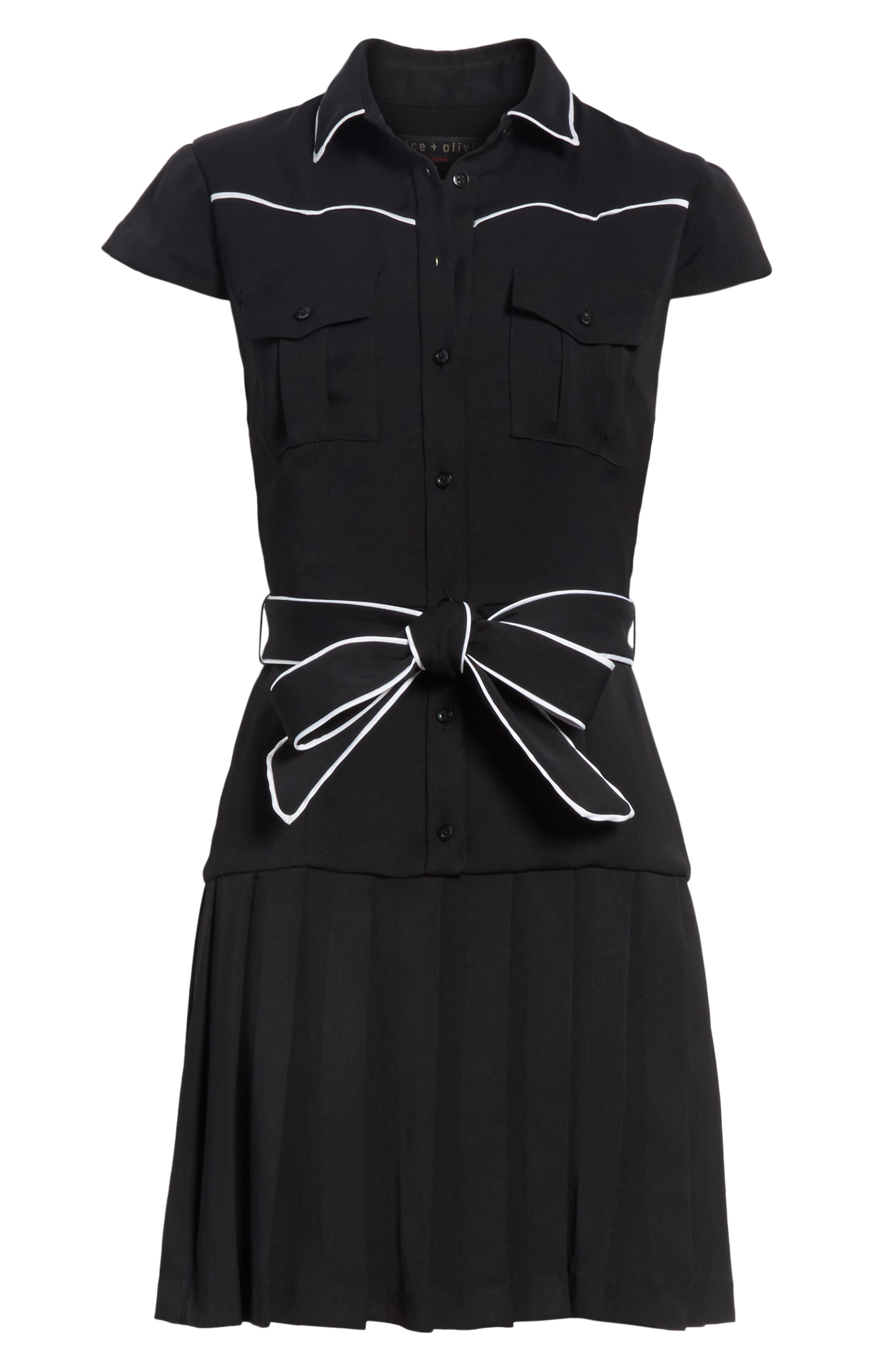 Pleated Shirtdress,                             Alternate thumbnail 6, color,                             009