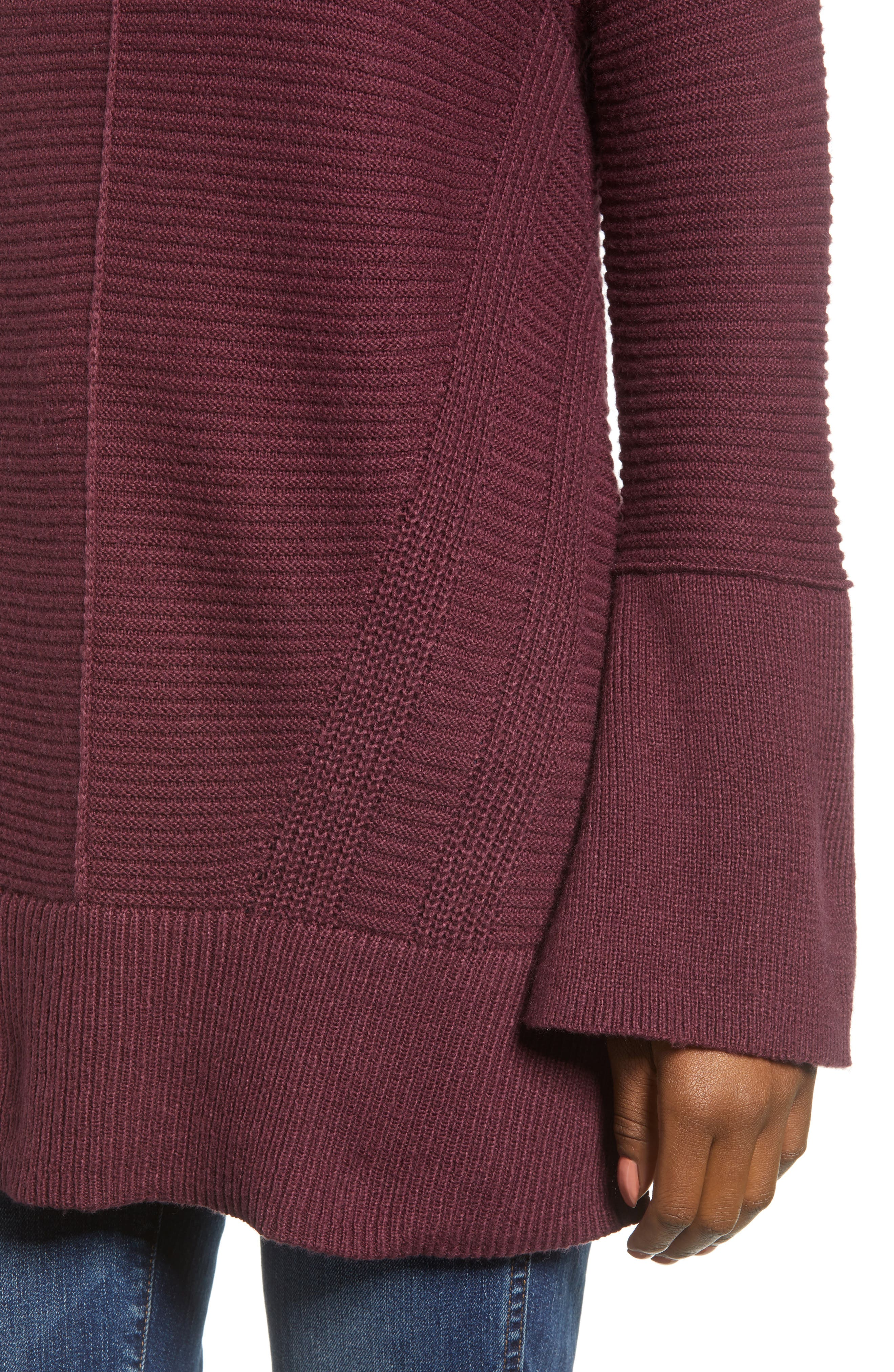 Ribbed Turtleneck Tunic Sweater,                             Alternate thumbnail 4, color,                             930
