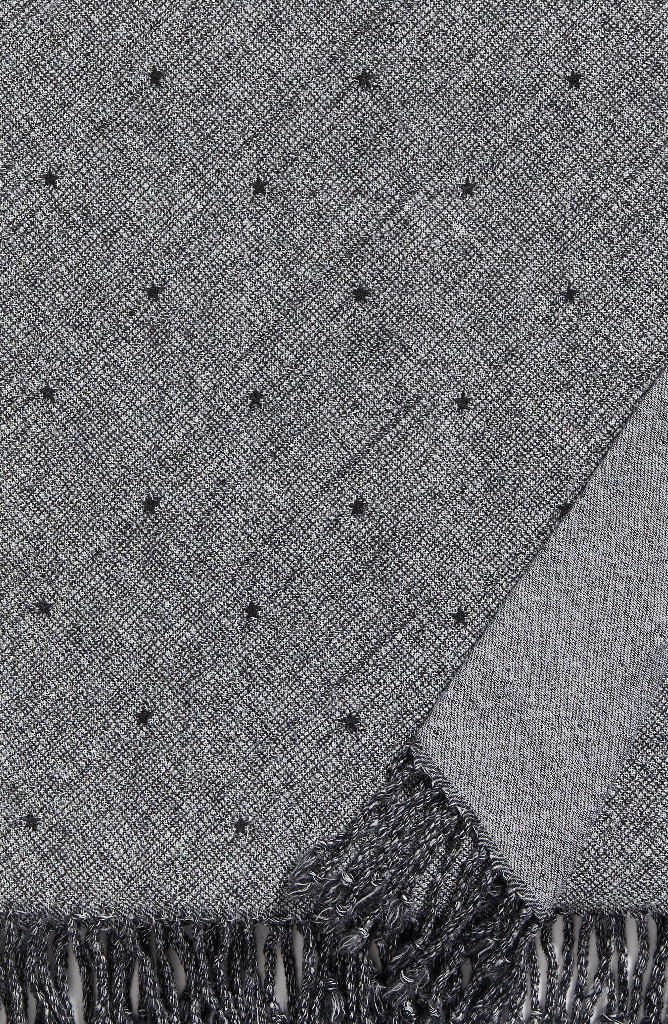 Blackstar Double Face Merino Wool Throw,                             Alternate thumbnail 2, color,                             BLACKSTAR