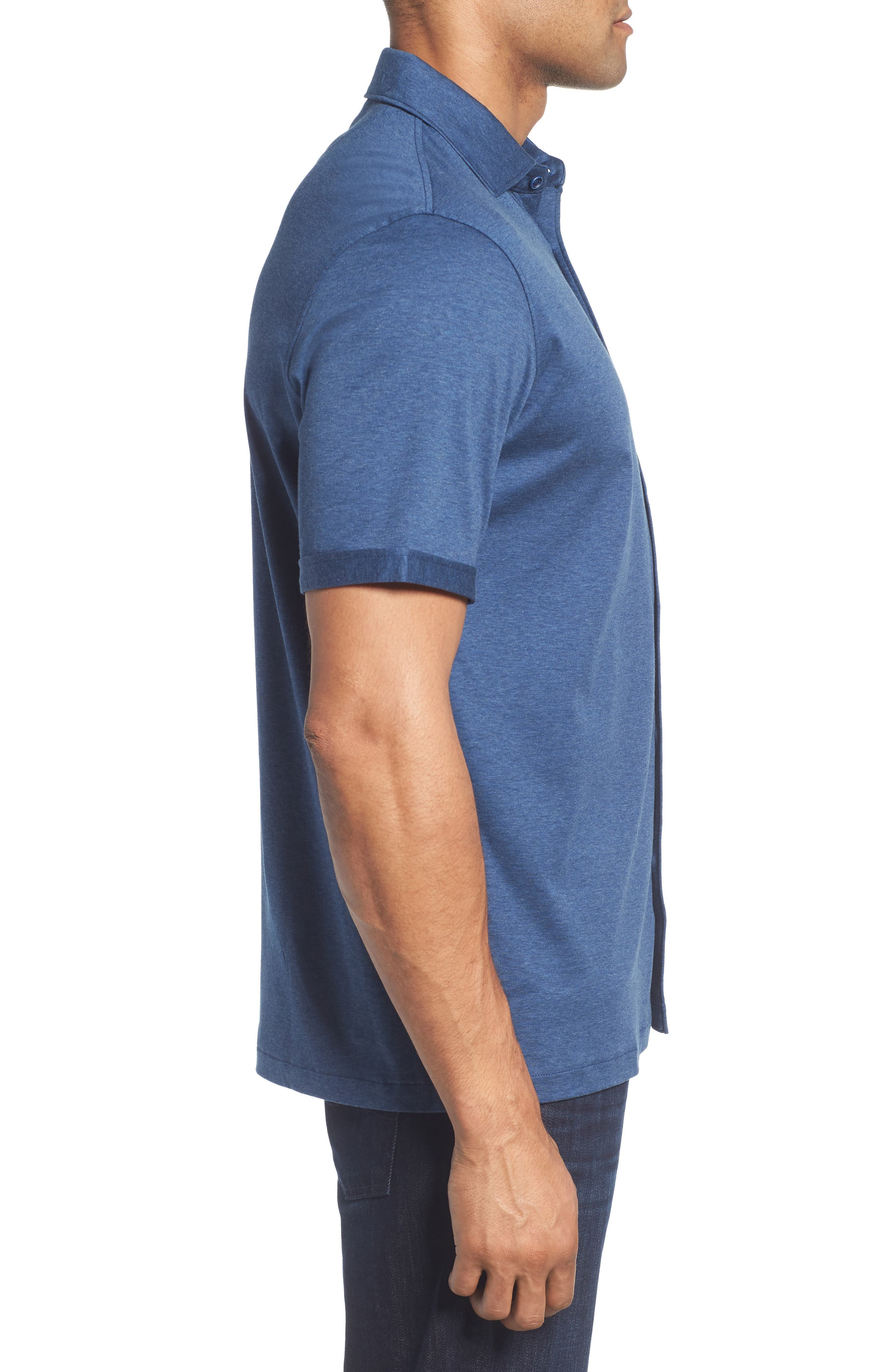 Regular Fit Heather Knit Sport Shirt,                             Alternate thumbnail 3, color,                             NAVY