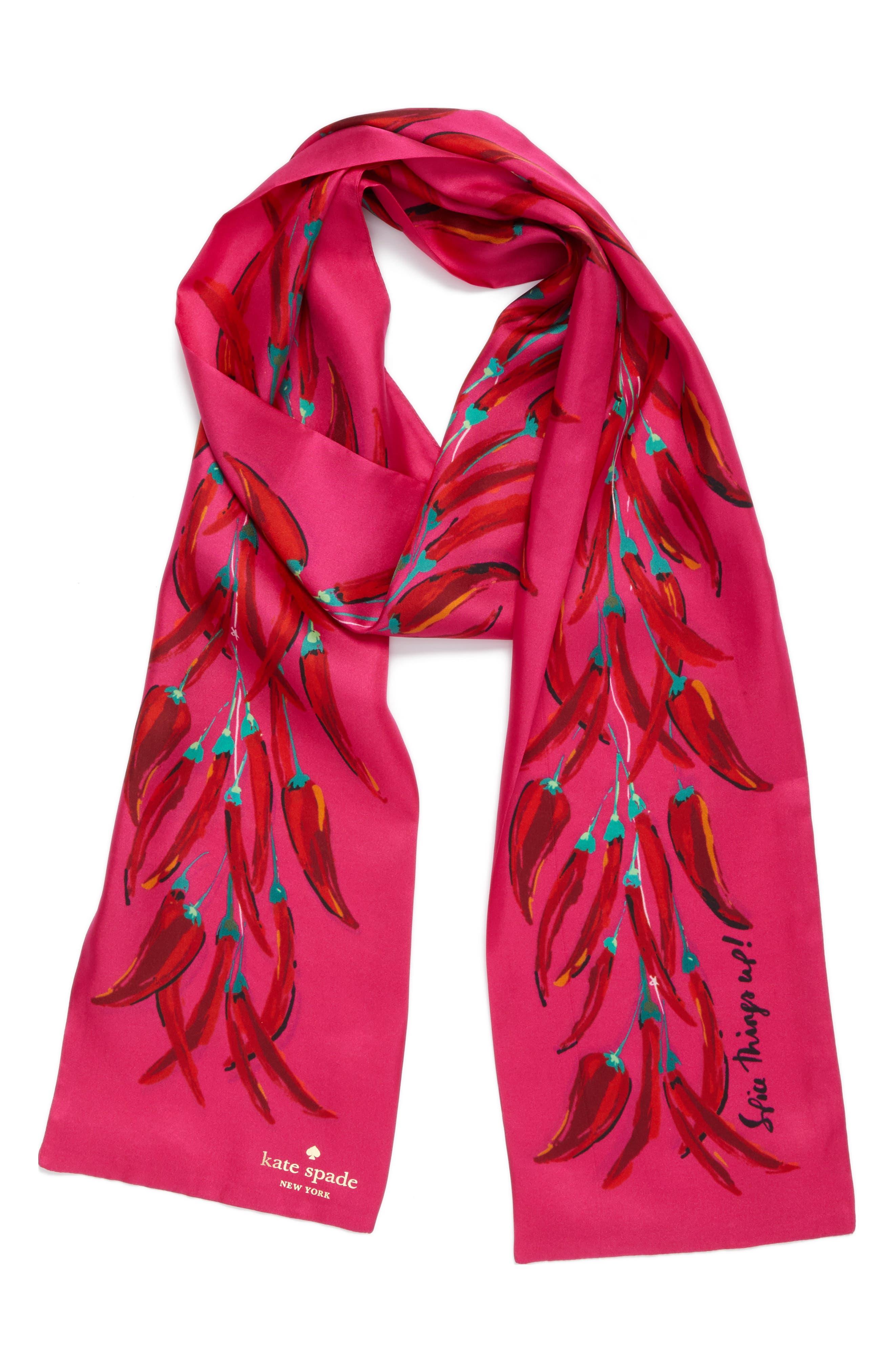 chili pepper string skinny scarf,                             Alternate thumbnail 2, color,