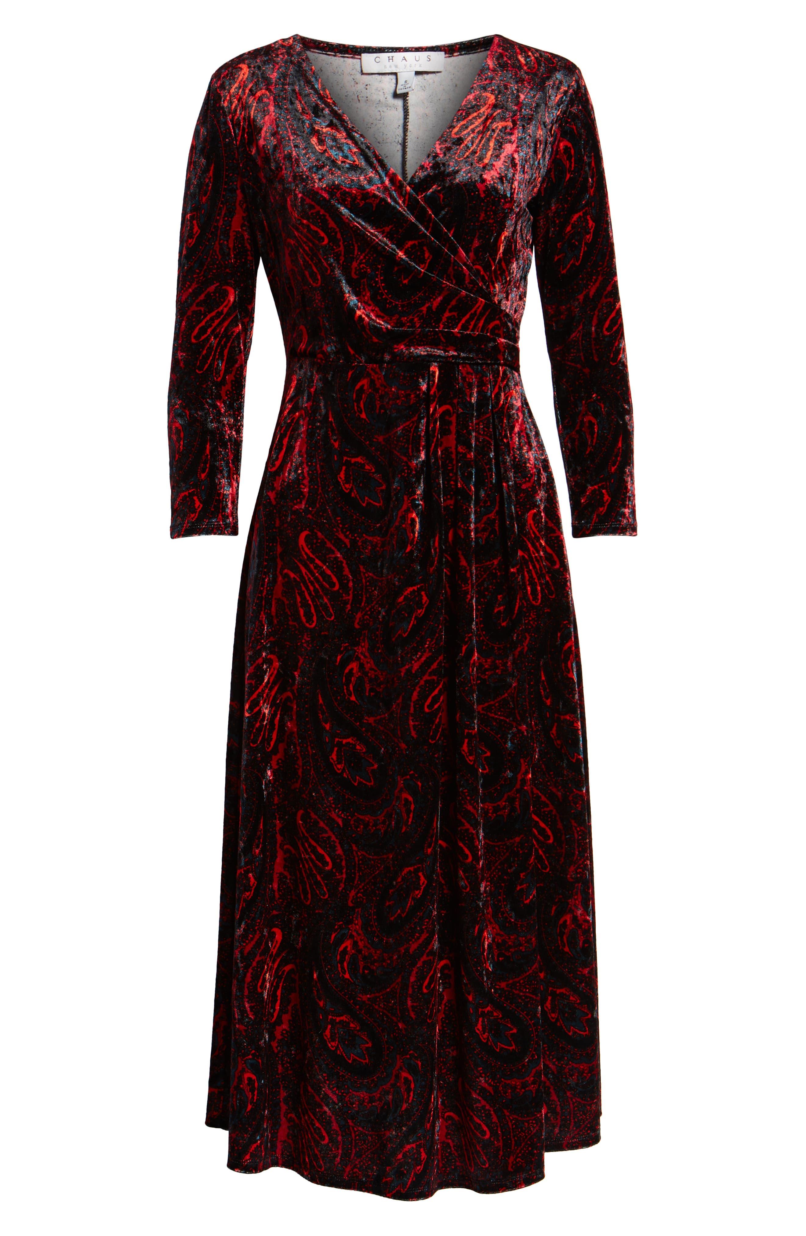 CHAUS,                             Paisley Velvet Faux Wrap Dress,                             Alternate thumbnail 7, color,                             RICH BLACK
