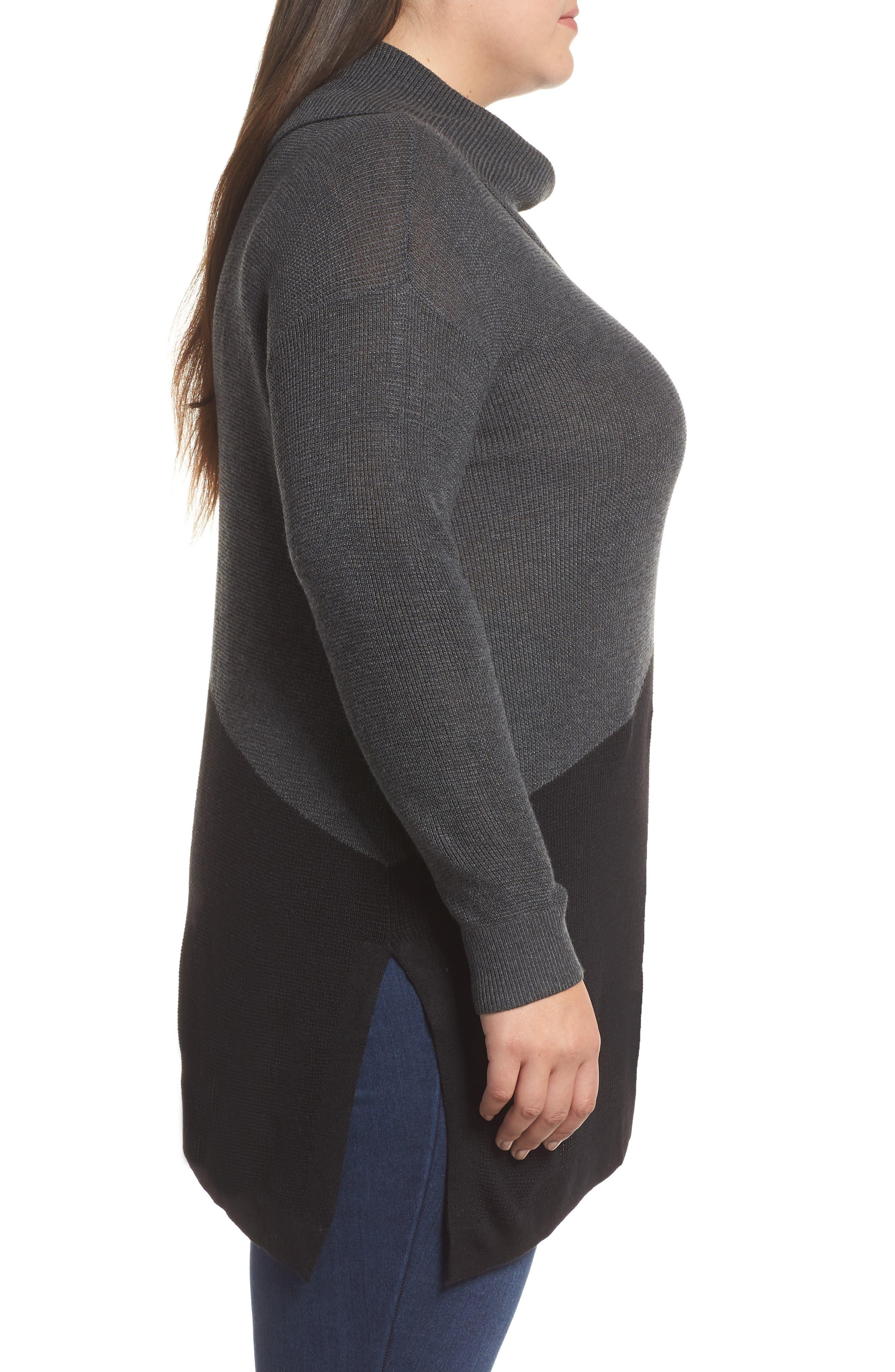 Asymmetrical Colorblock Sweater,                             Alternate thumbnail 3, color,                             MEDIUM HEATHER GREY