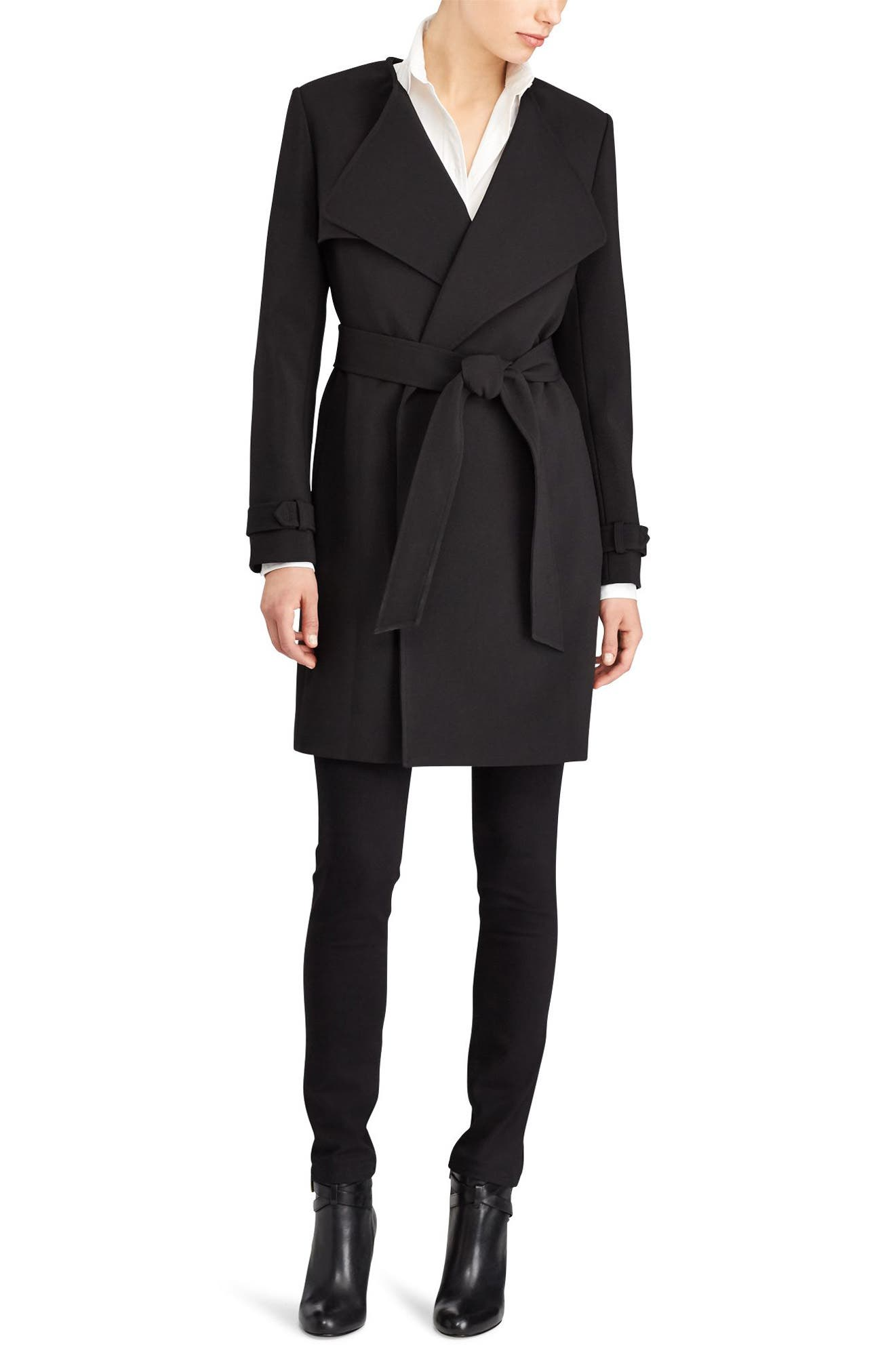 Flap Detail Crepe Wrap Coat,                             Alternate thumbnail 3, color,                             001