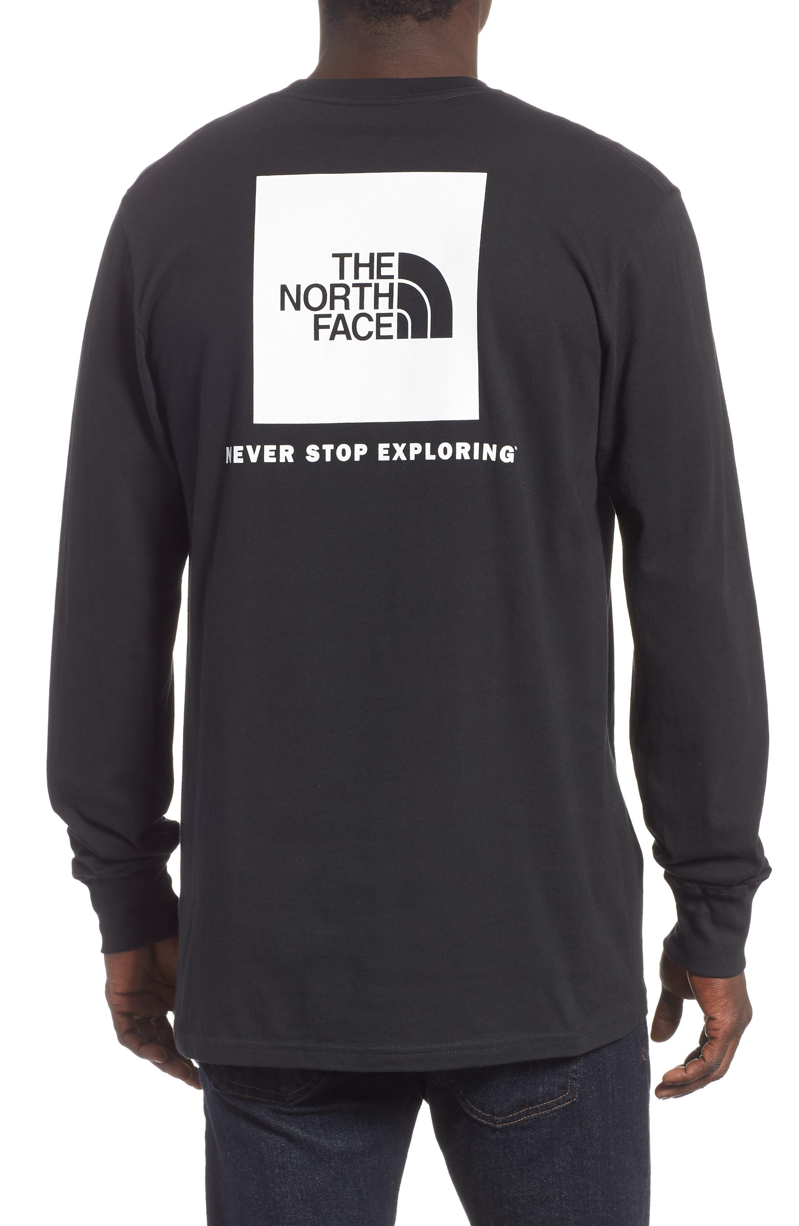 Red Box Long Sleeve T-Shirt,                             Alternate thumbnail 2, color,                             TNF BLACK/ TNF WHITE
