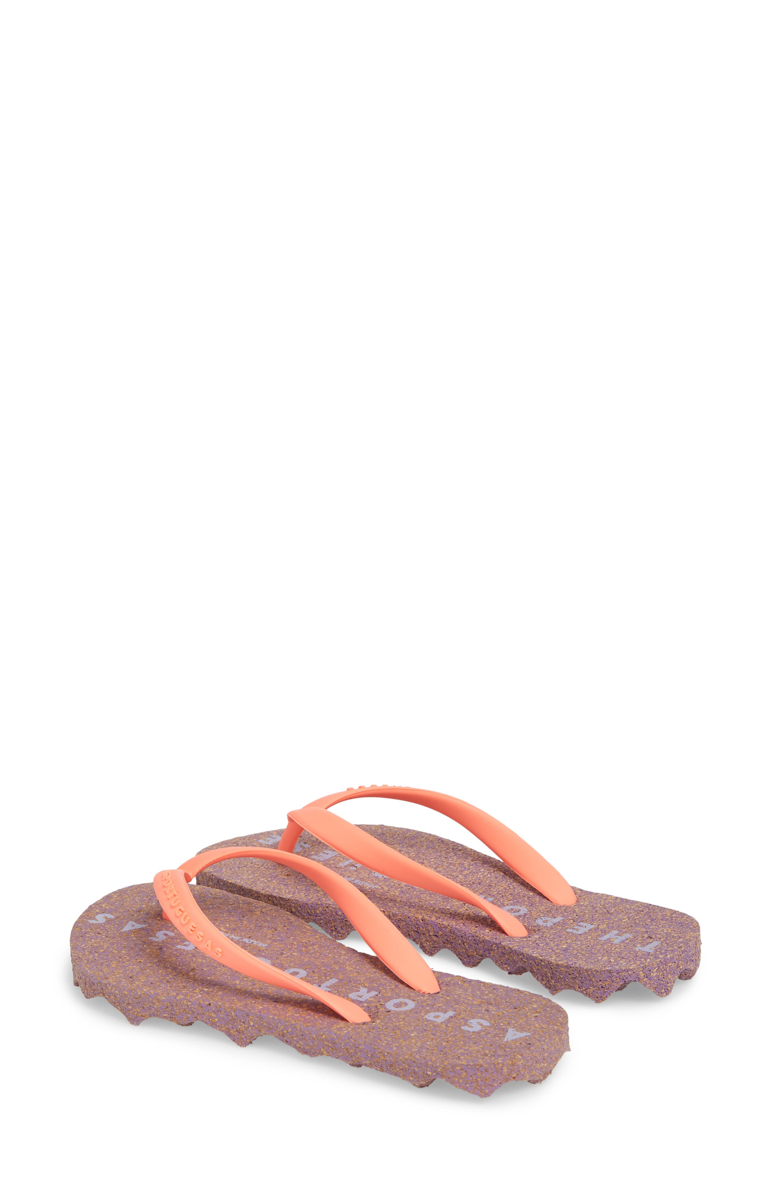 Base 000 Flip Flop,                             Alternate thumbnail 3, color,                             CORAL/ PURPLE FABRIC