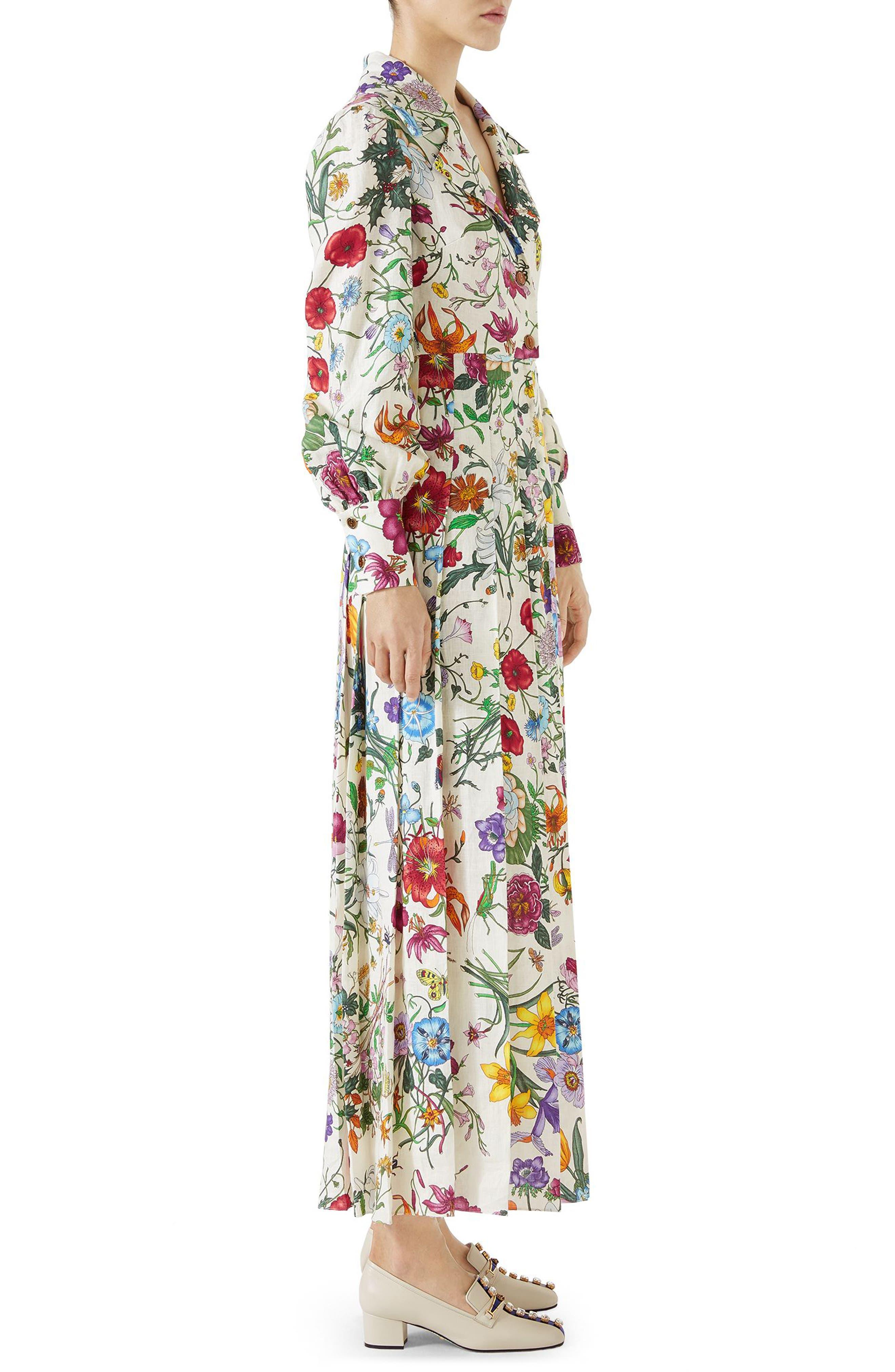 Puff Sleeve Pleated Silk Dress,                             Alternate thumbnail 3, color,                             909