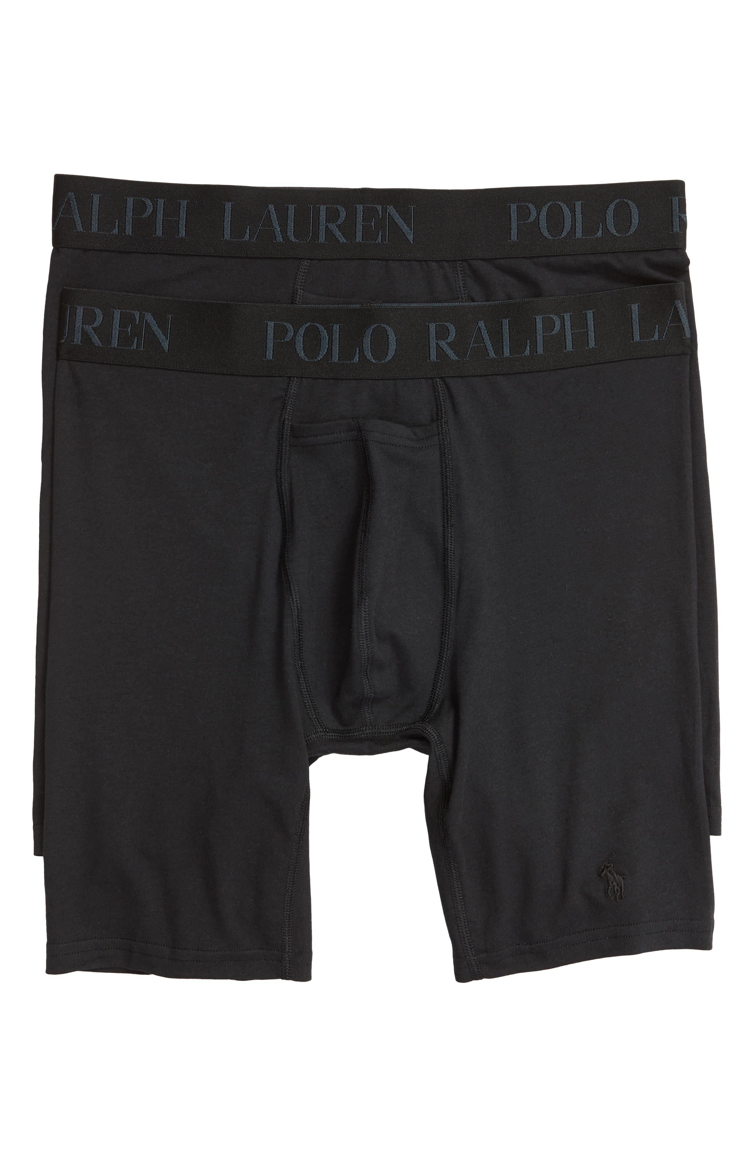 POLO RALPH LAUREN,                             2-Pack Cotton & Modal Boxer Briefs,                             Main thumbnail 1, color,                             001