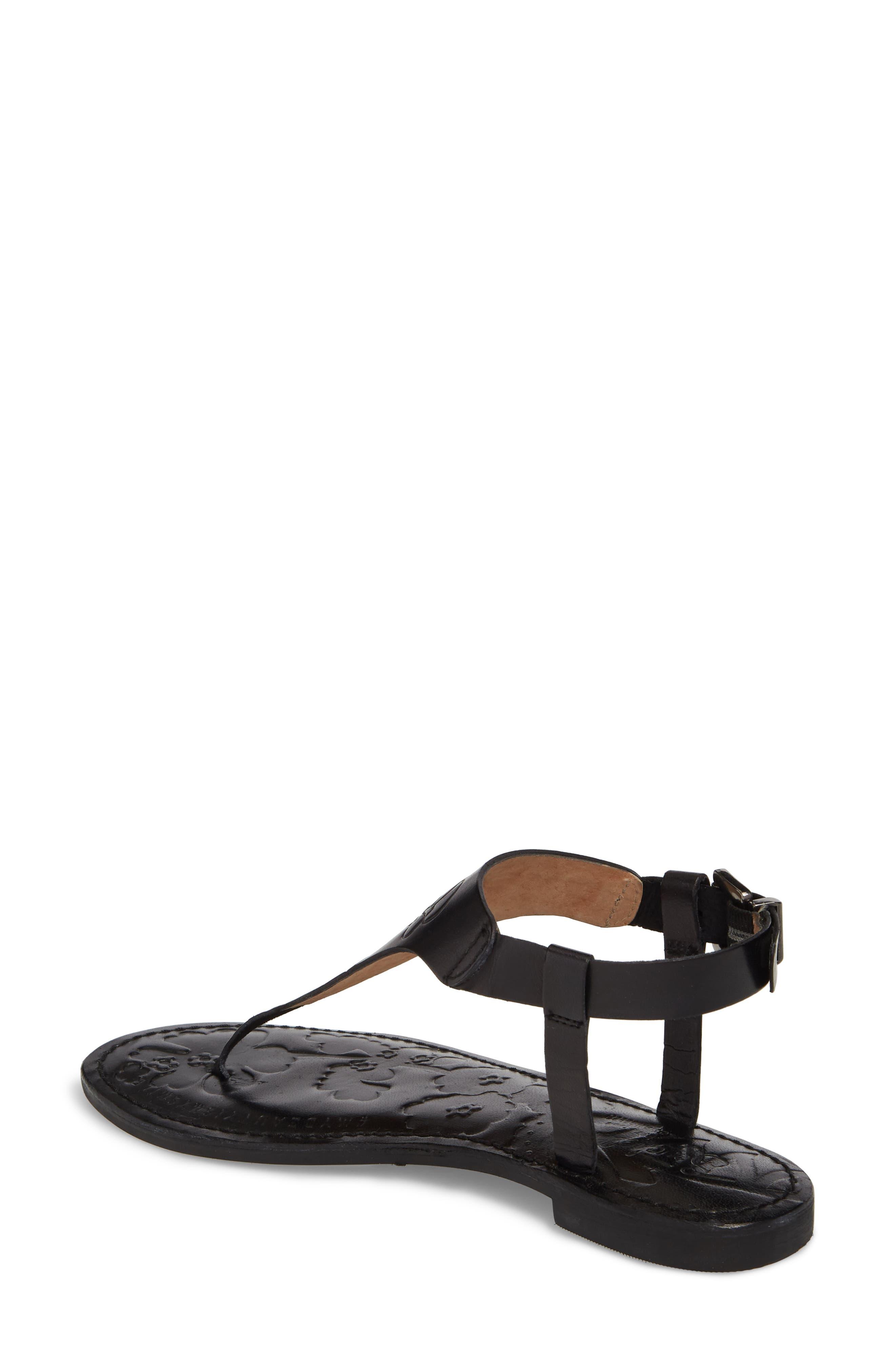 Laxmi Embossed Sandal,                             Alternate thumbnail 2, color,                             BLACK LEATHER