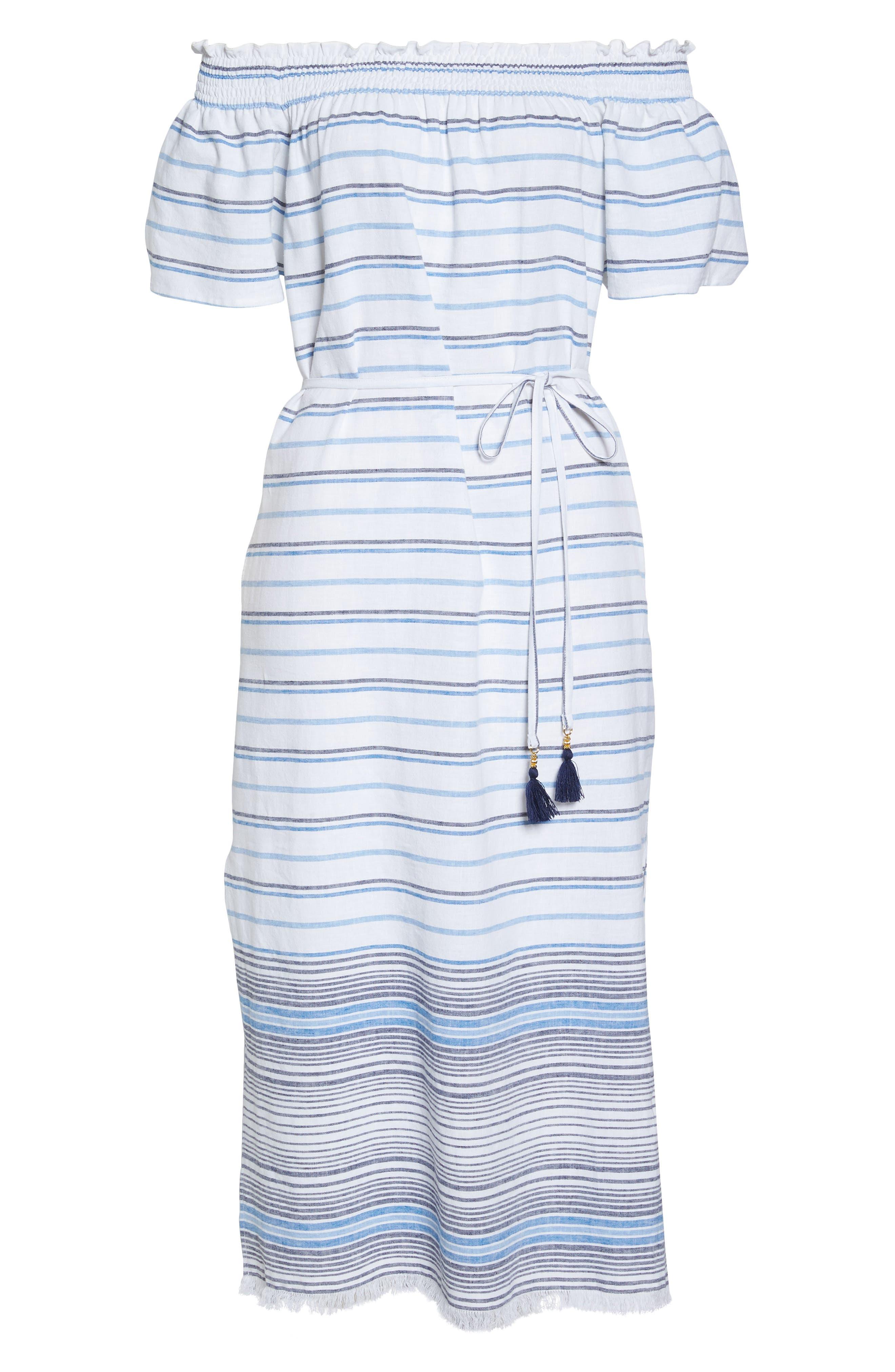 Stripe Linen & Cotton Off the Shoulder Cover-Up Dress,                             Alternate thumbnail 6, color,                             100