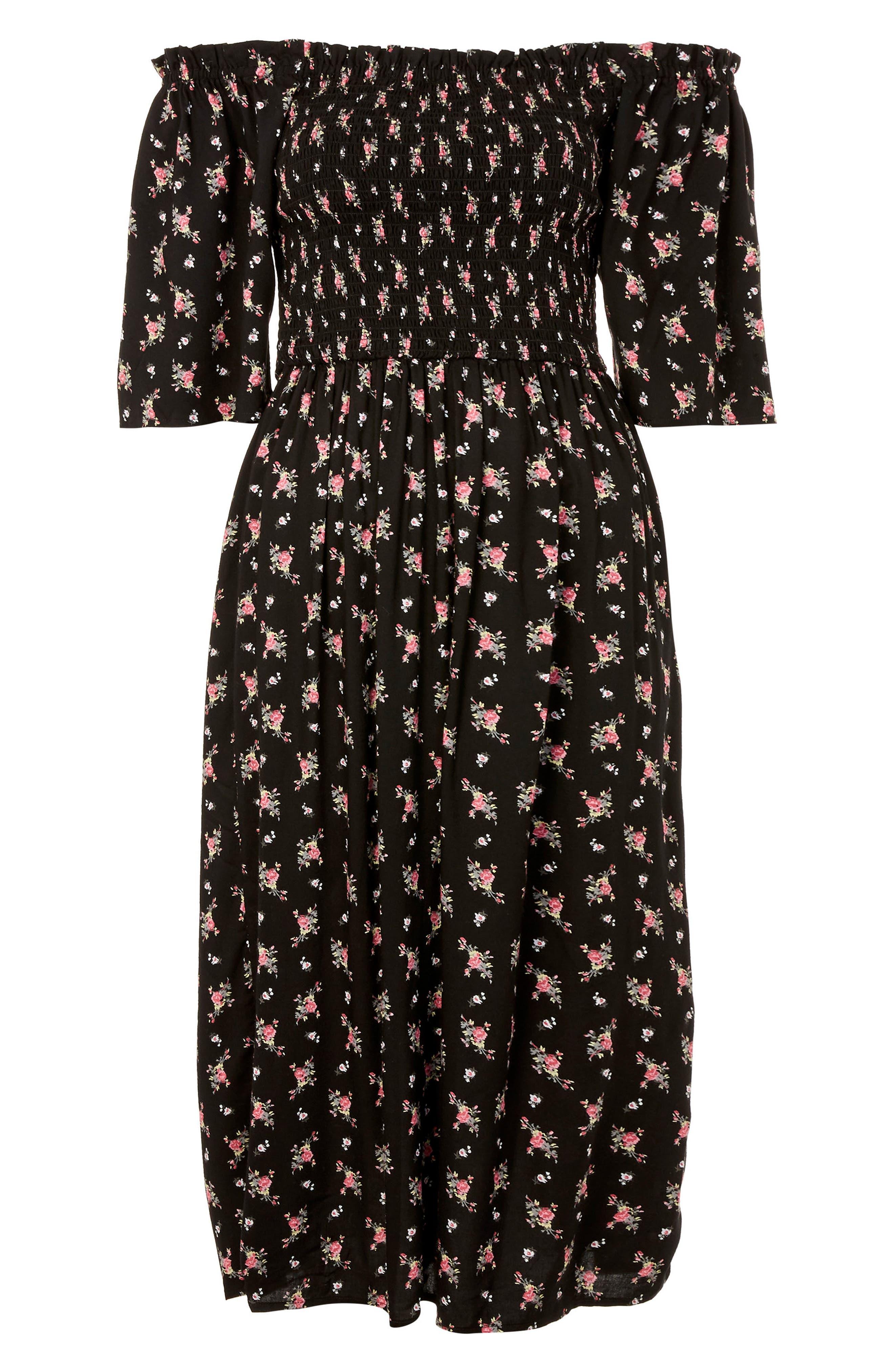 Shirred Bell Sleeve Midi Dress,                             Alternate thumbnail 3, color,                             001