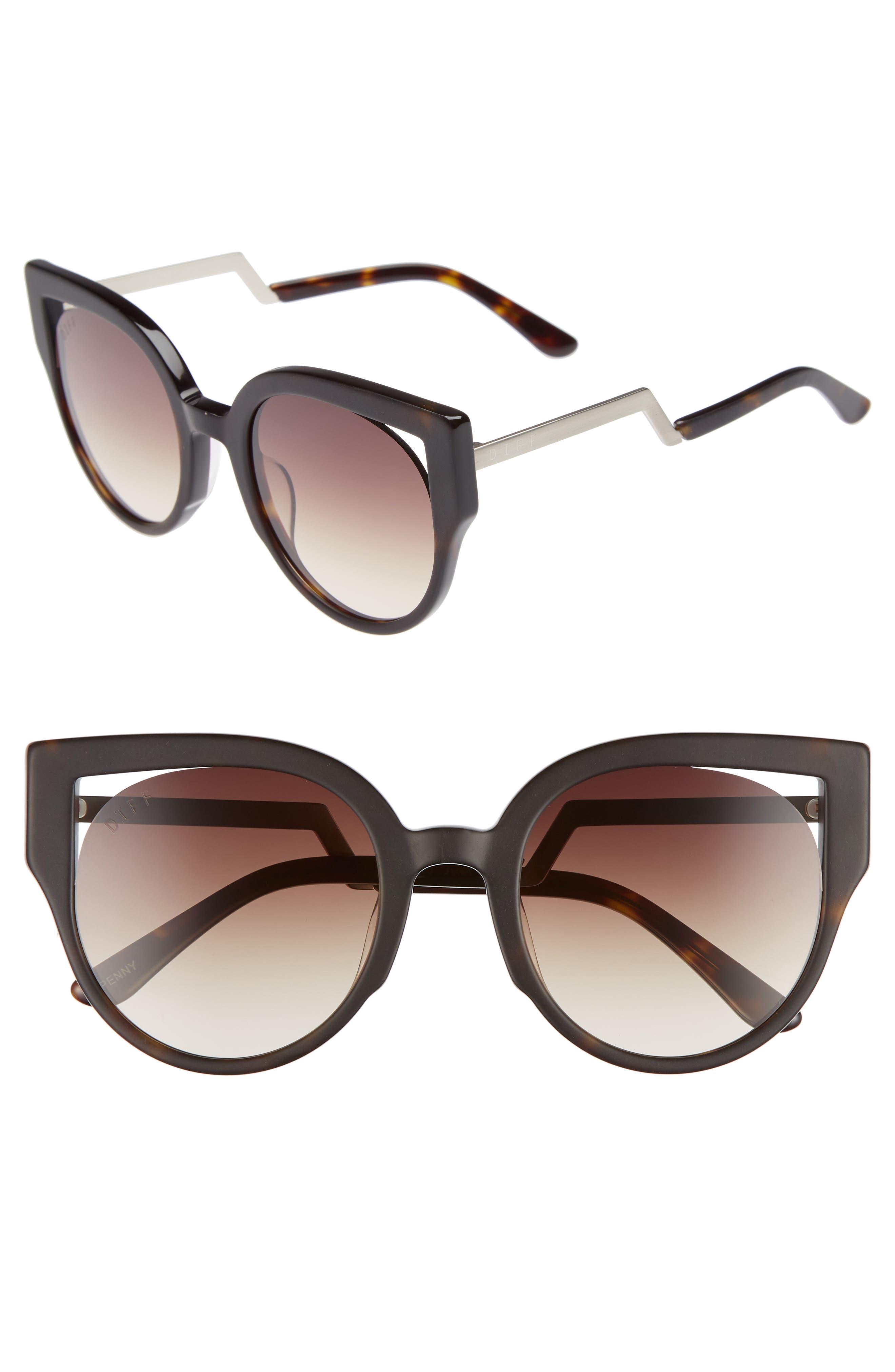 Penny 55mm Cat Eye Sunglasses,                         Main,                         color, MATTE TORTOISE/ BROWN