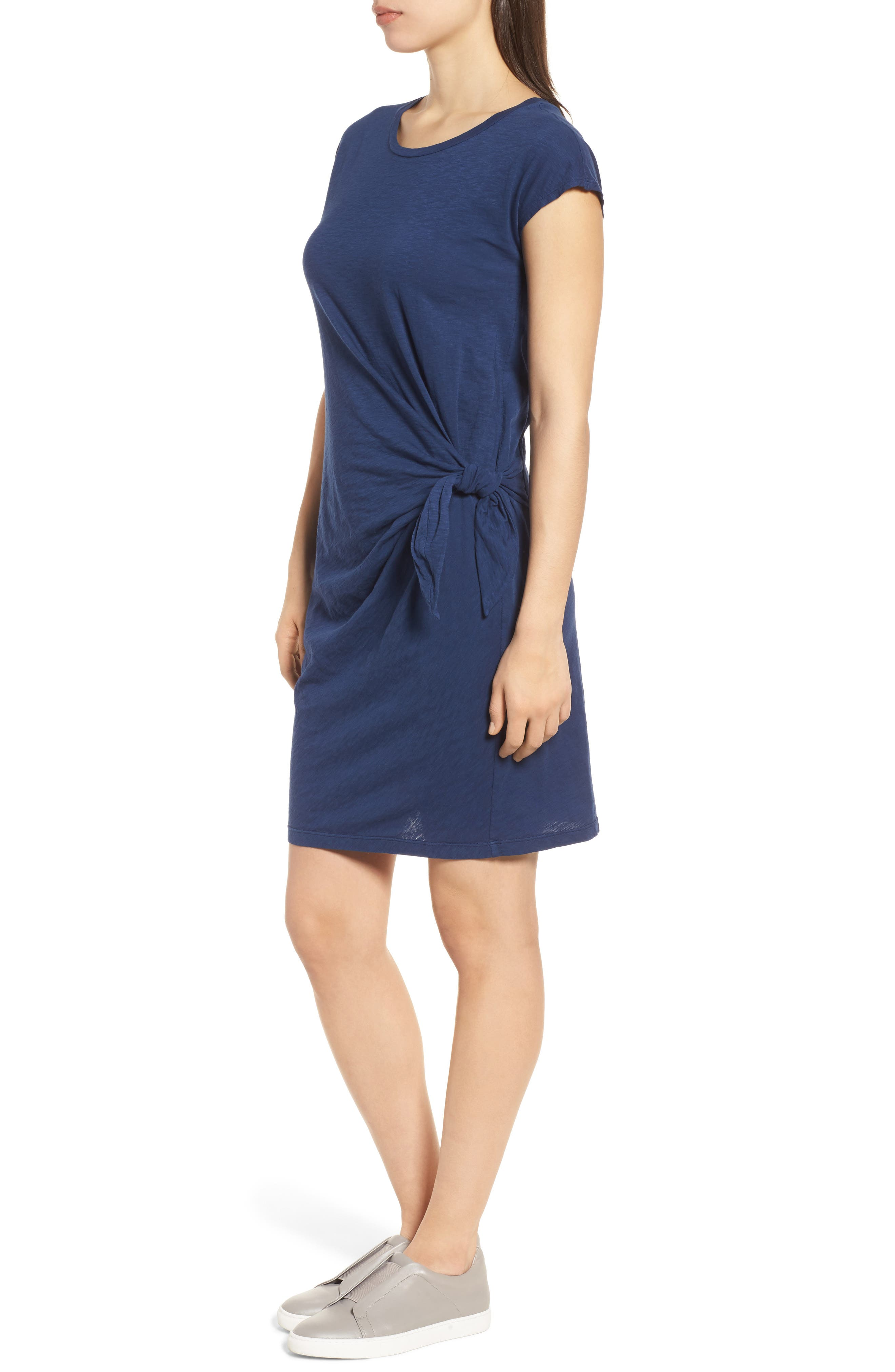 Cotton Slub Tie Waist Dress,                             Alternate thumbnail 3, color,                             437