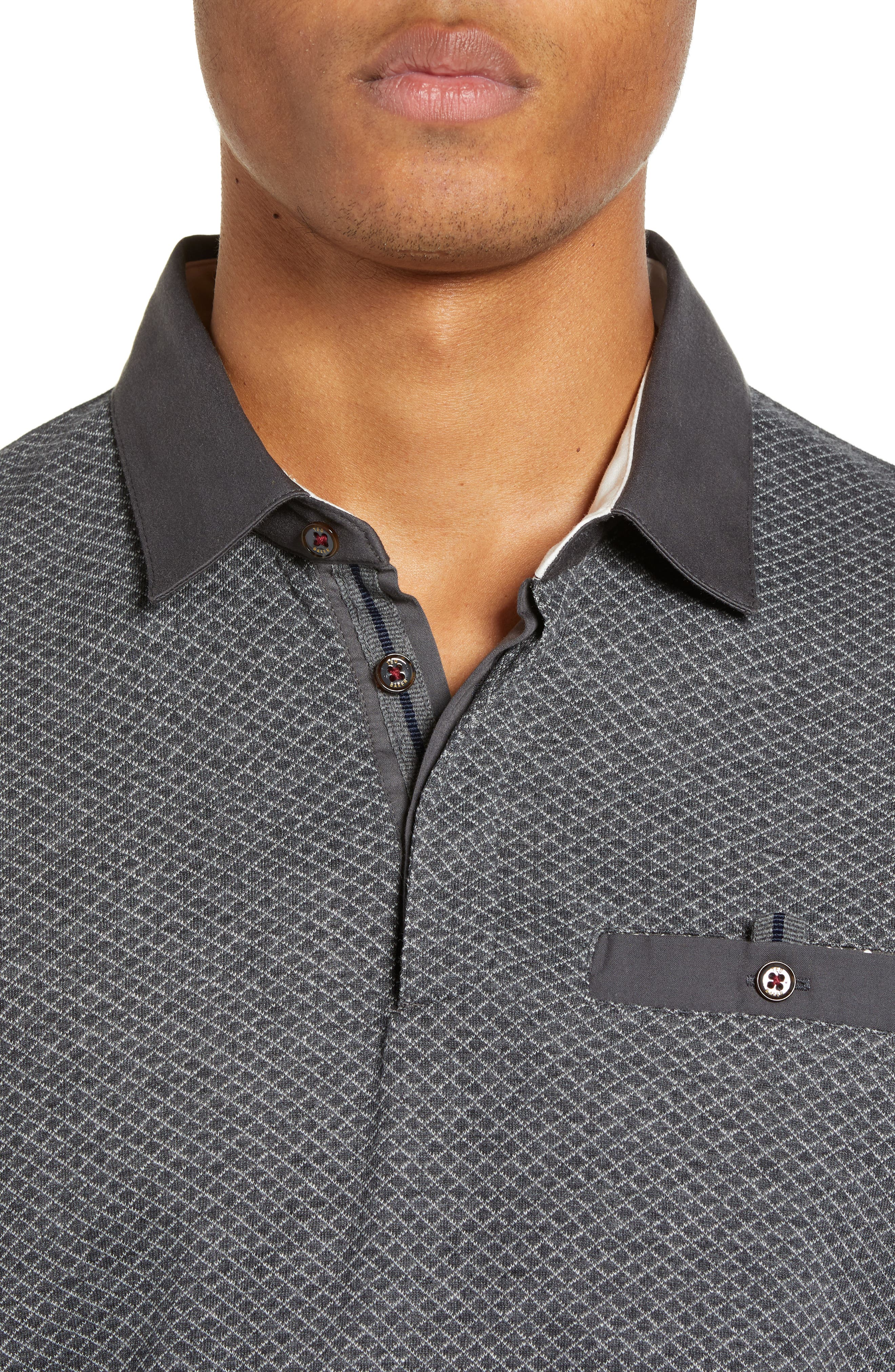 Friend Slim Fit Long Sleeve Polo,                             Alternate thumbnail 4, color,                             CHARCOAL