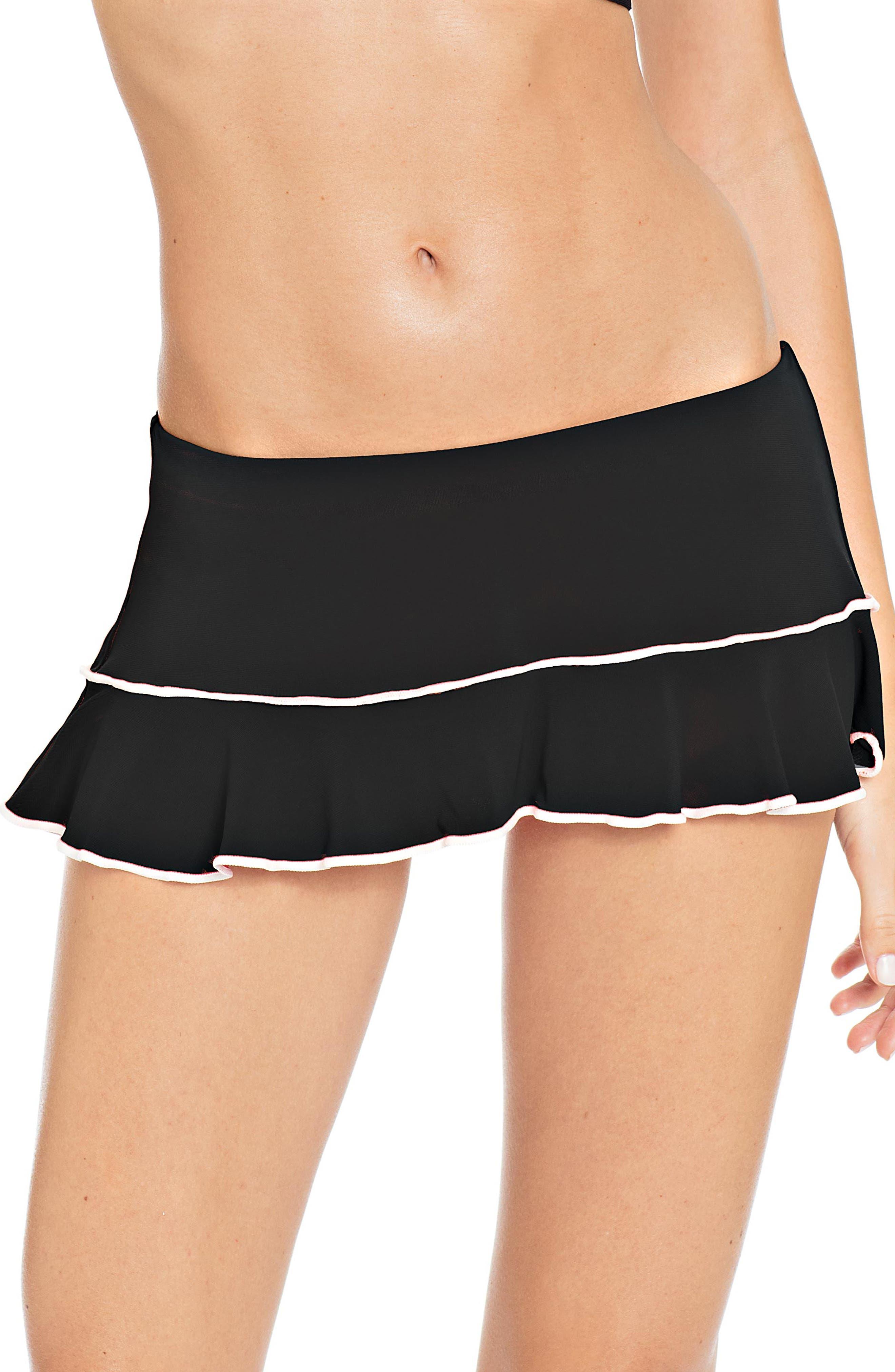 Malia Skirted Bikini Bottoms,                             Main thumbnail 1, color,                             BLACK/ WHITE