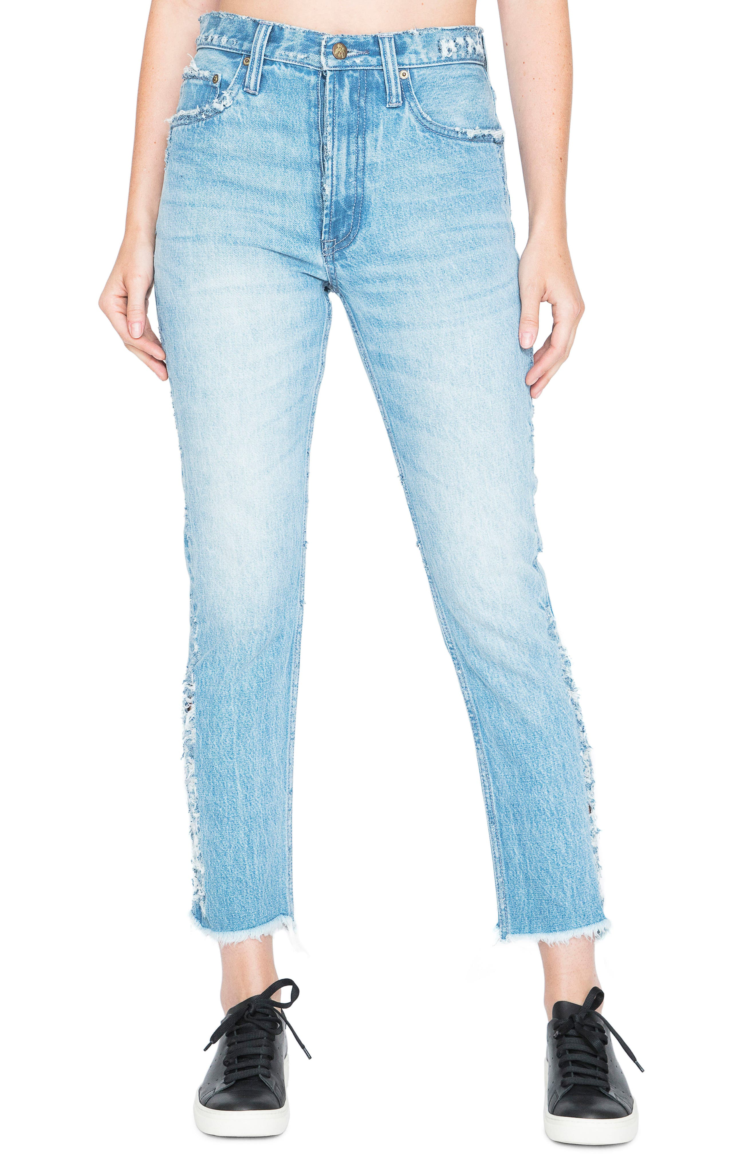 AMX Side Fray High Waist Ankle Jeans,                         Main,                         color, 426
