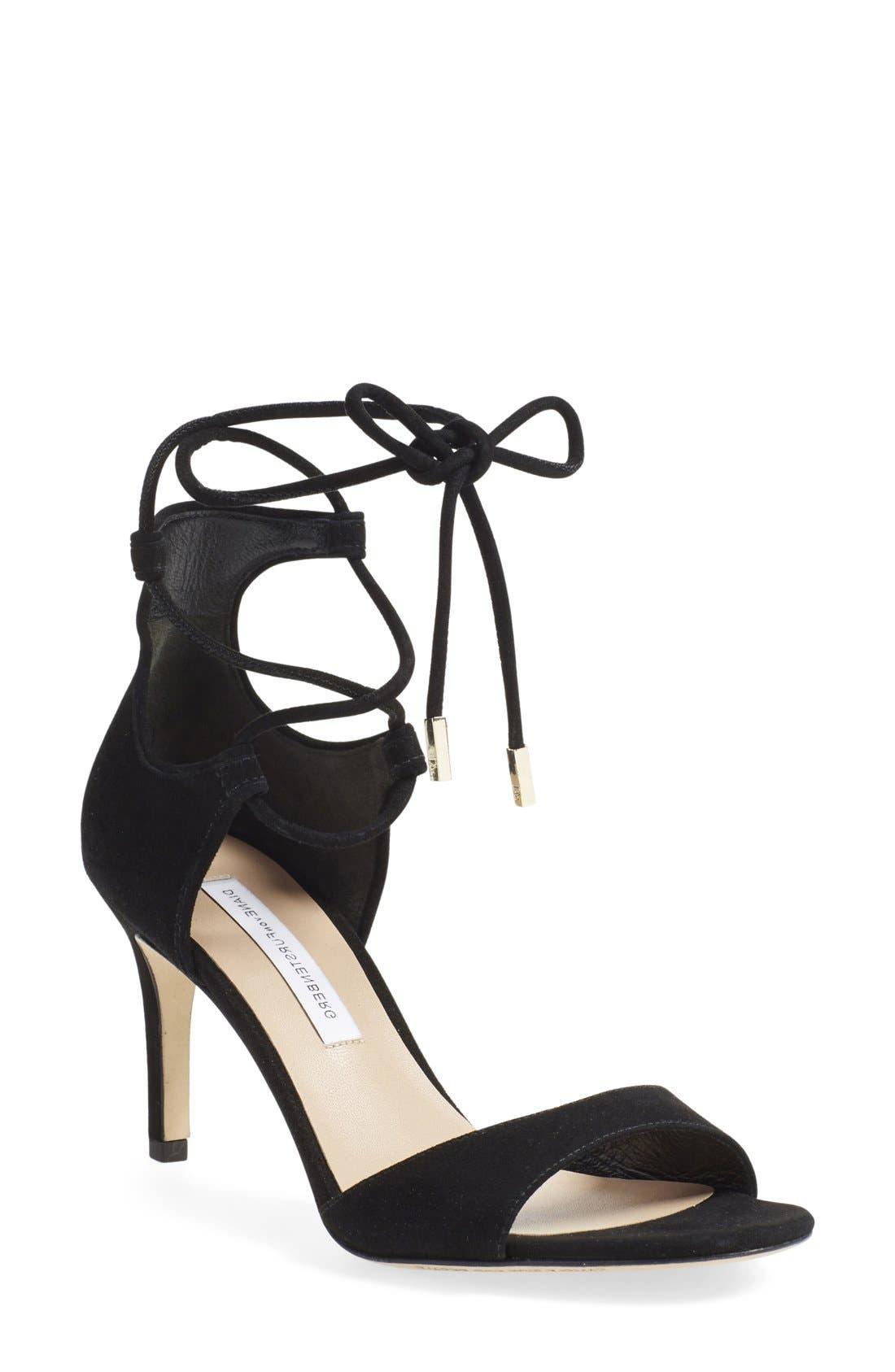 'Rimini' Ankle Wrap Sandal,                             Main thumbnail 1, color,                             001