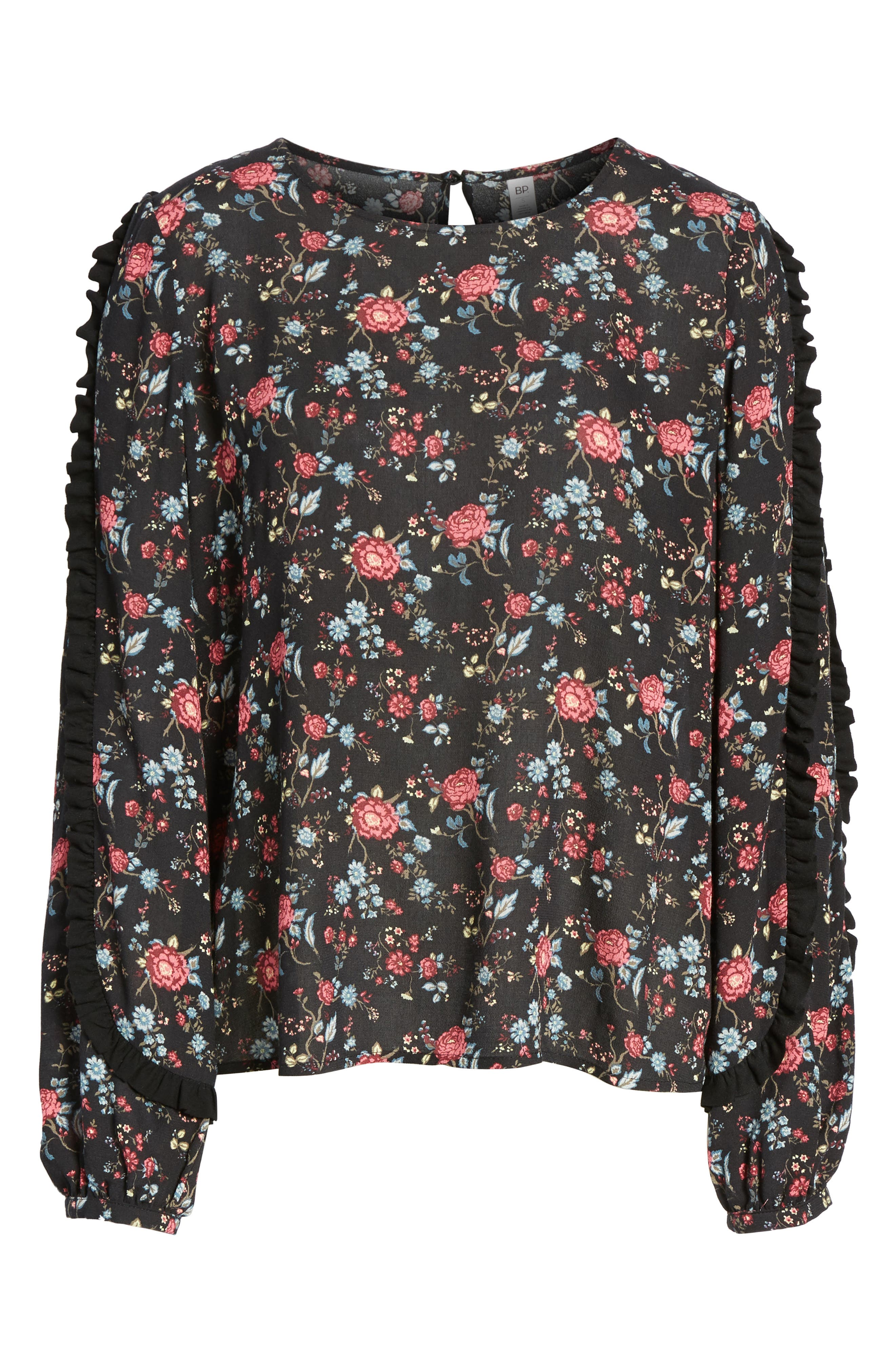 Ruffle Trim Floral Print Top,                             Alternate thumbnail 6, color,                             001