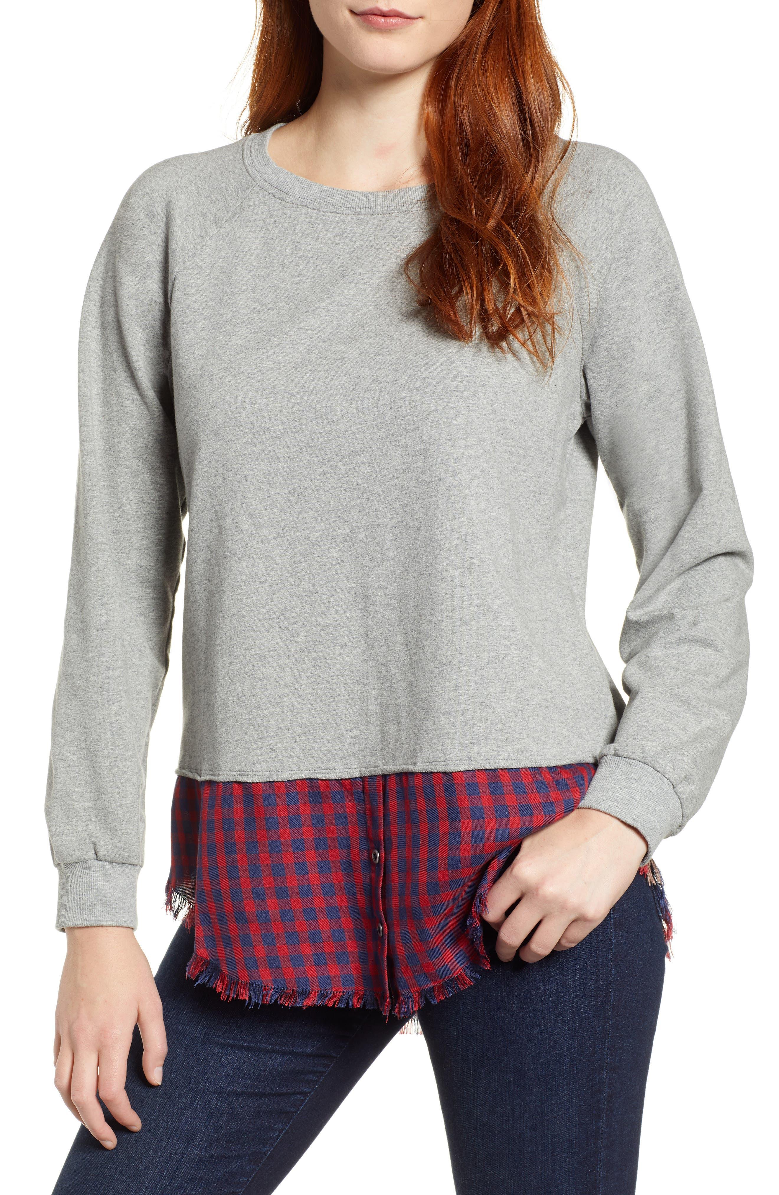 BILLY T Plaid Shirttail Sweatshirt in Heather Grey/ Red Mix Plaid