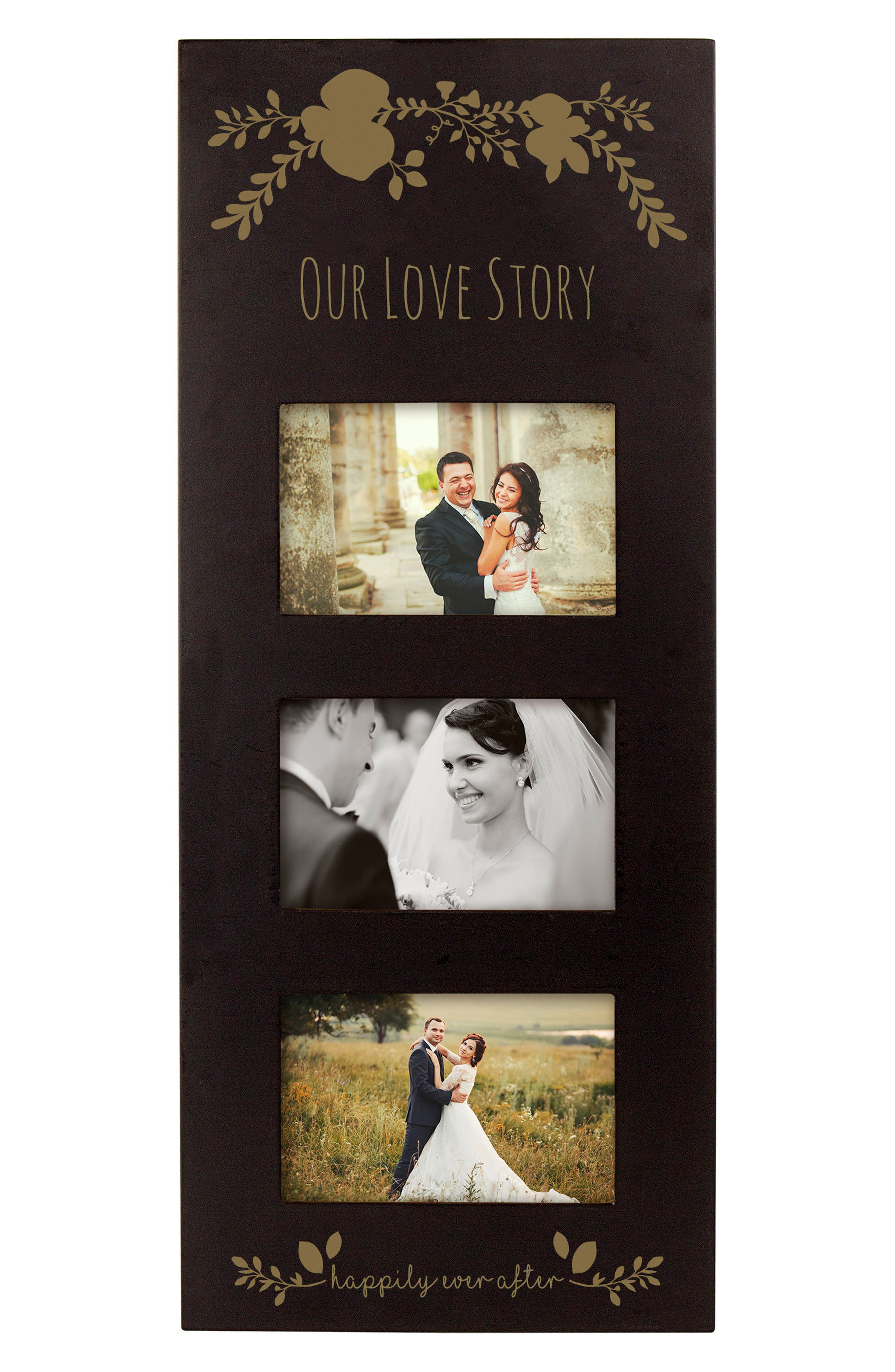 Gold Love Story 3-Window Picture Frame,                             Alternate thumbnail 2, color,                             001