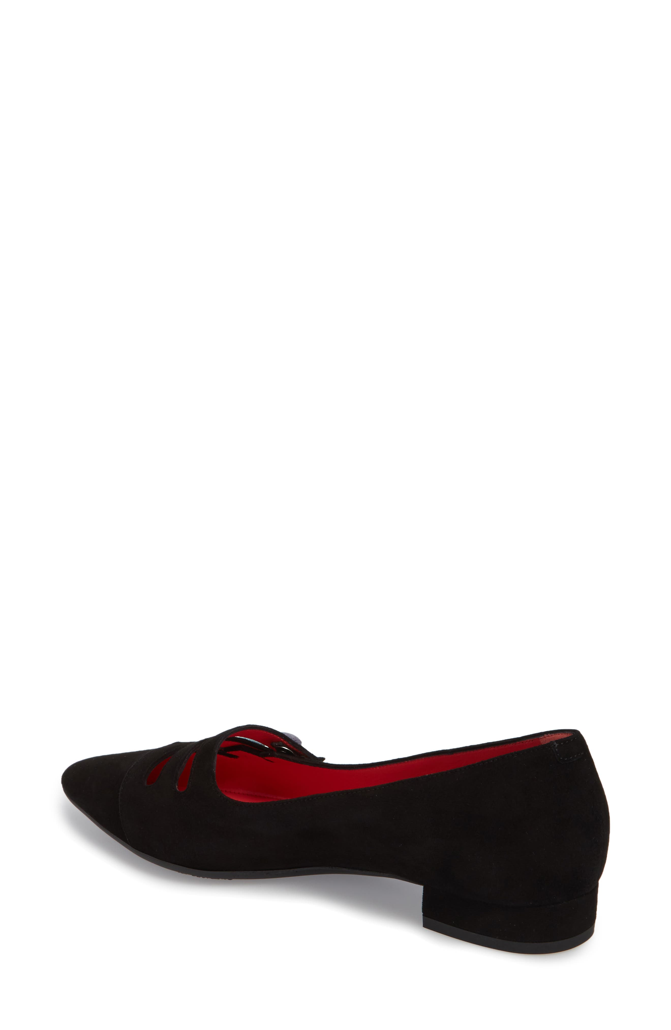 Janet Flat,                             Alternate thumbnail 2, color,                             BLACK LEATHER/ SUEDE